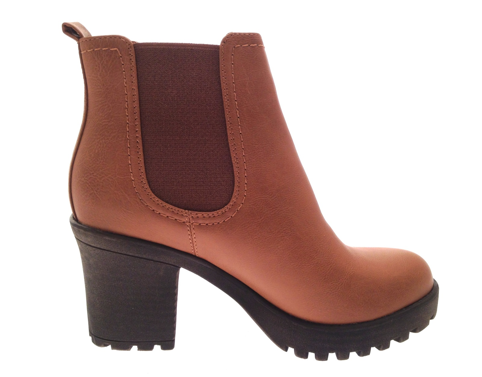 Womens Mid Chunky Block Heel Chelsea Low Ankle Boots ...