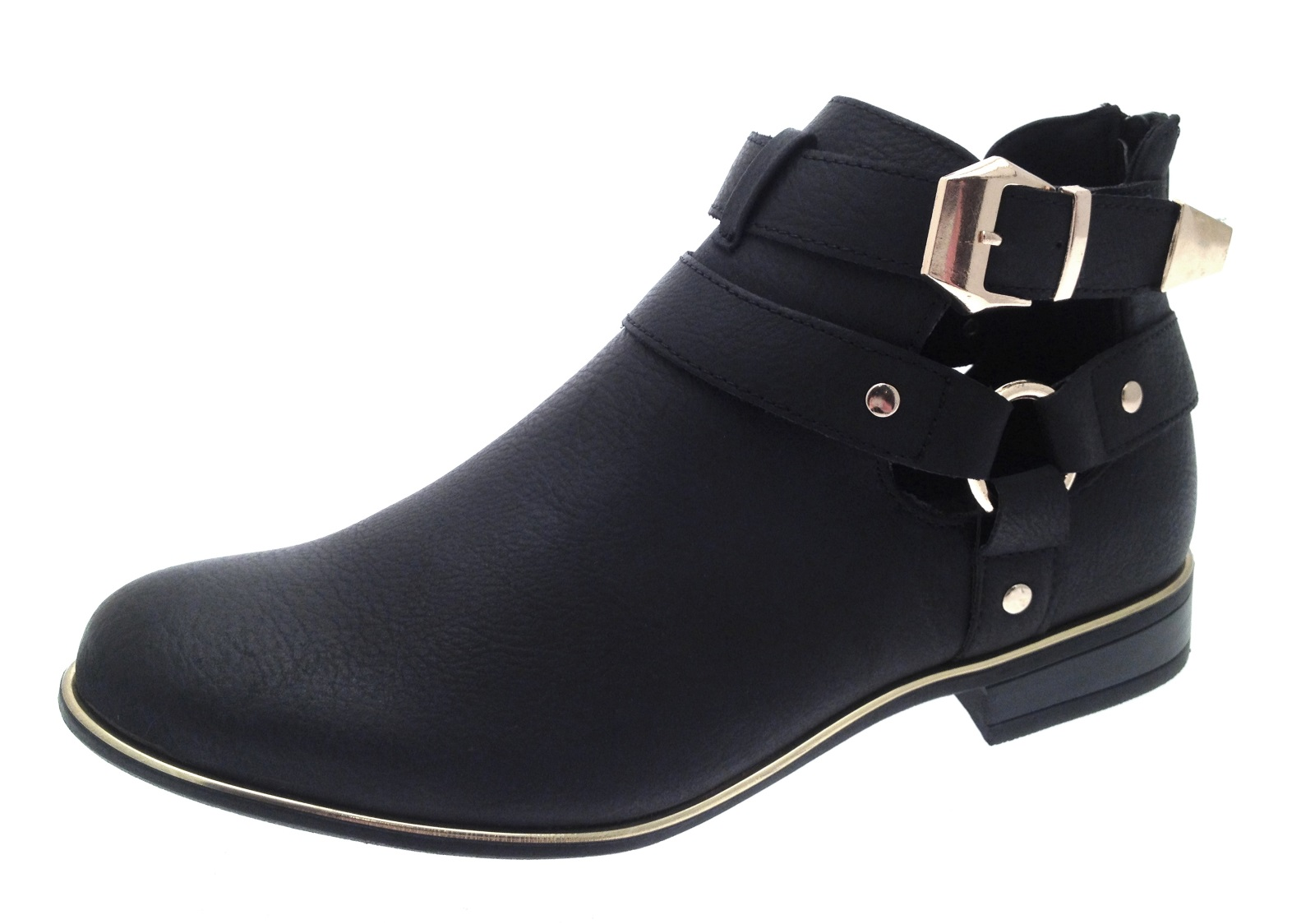 Womens Flat Heel Cut Out Ankle Boots Gold Trim Faux Leather Buckle ...
