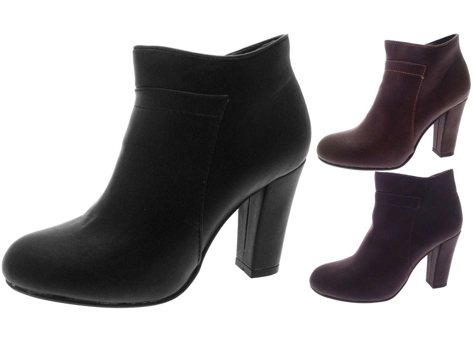 65435a15cee5 Womens Faux Leather High Block Heel Ankle Boots Platforms Ladies Size UK 3  - 8