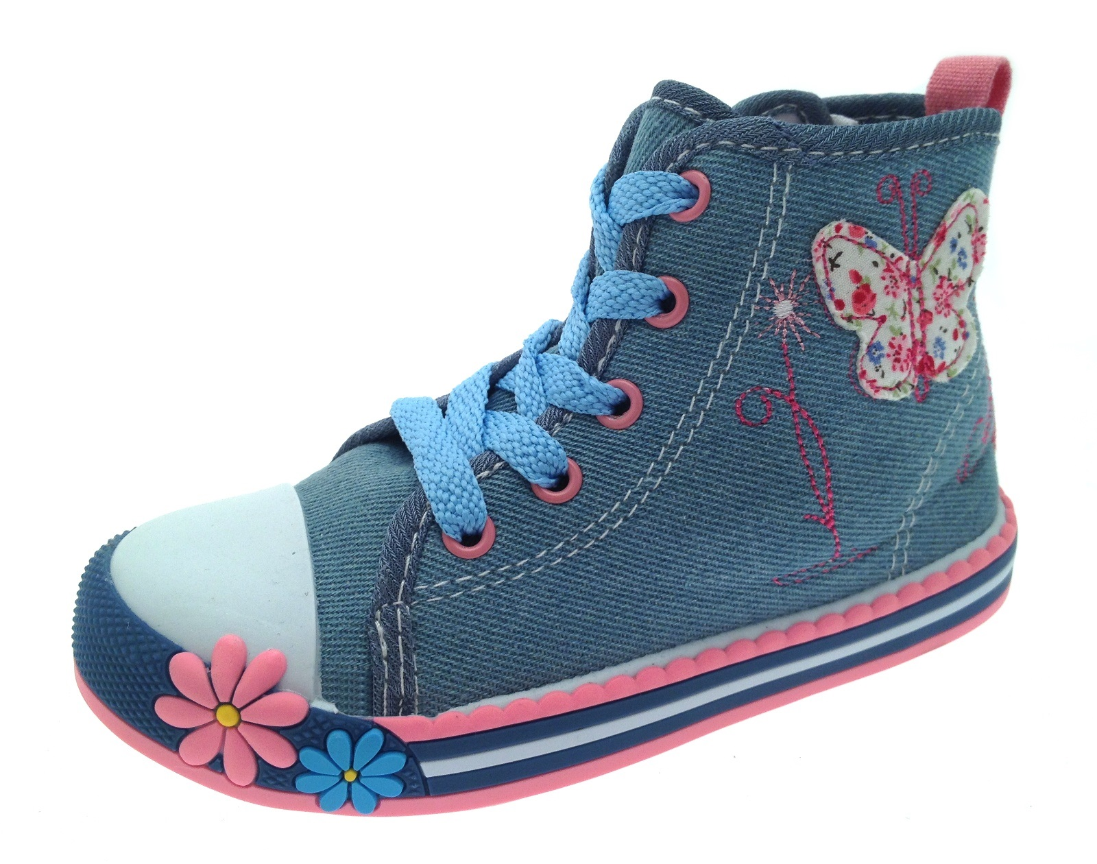 Girls Canvas Pumps / Hi Tops Trainers Shoes Flower Butterfly Kids Size UK 4 - 12