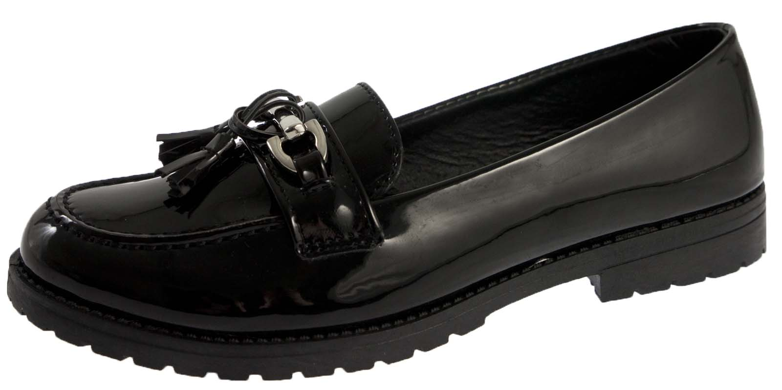 Girls Womens Kids Brogues Mules Chunky Loafers School Work Shoes Size UK 10-9   EBay