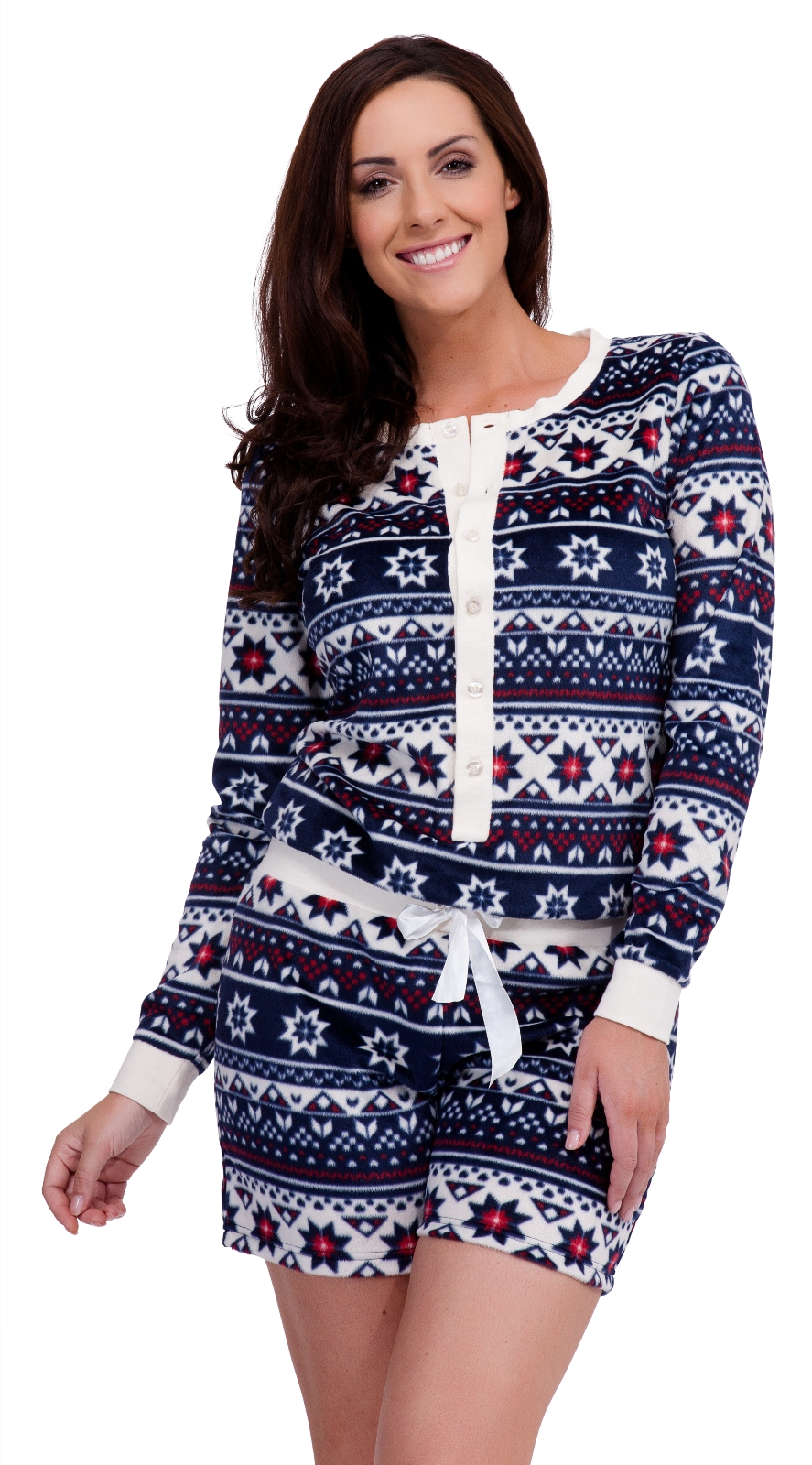 womens fairisle fleece playsuit short all in one pyjamas. Black Bedroom Furniture Sets. Home Design Ideas