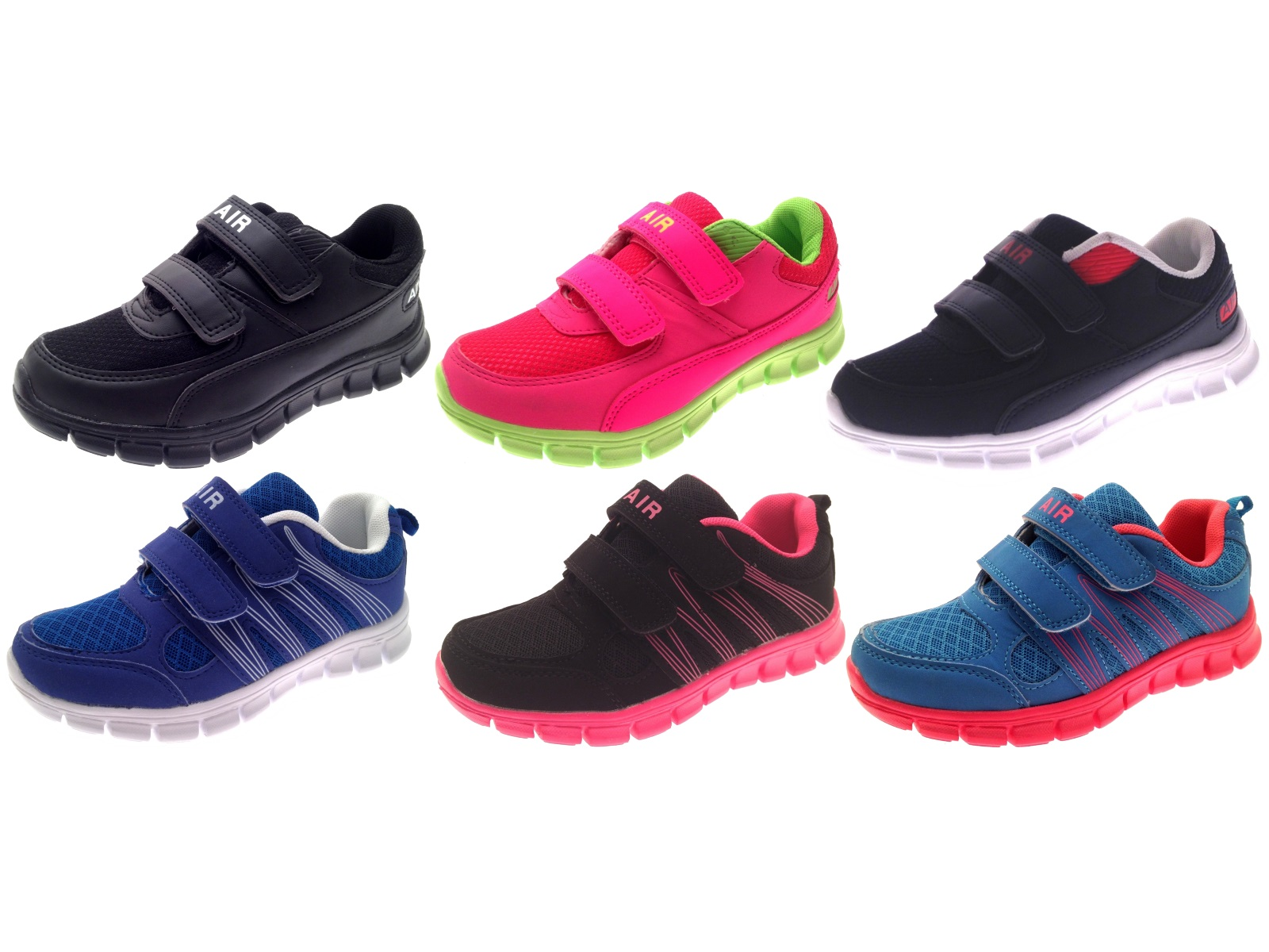 Kids Boys Girls Sports Trainers Velcro Pumps Flat Running Shoes Size UK 10 to 2