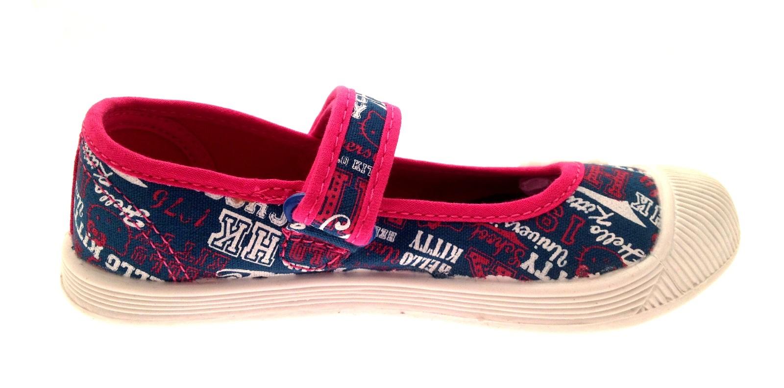 Niños Niñas Hello Kitty De Lona Bombas Mary Jane Velcro Verano Zapatos Talla Uk 8 a 2