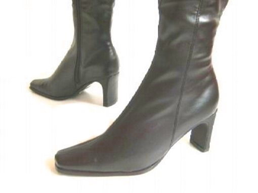 womens knee high stretch faux leather boots high heels