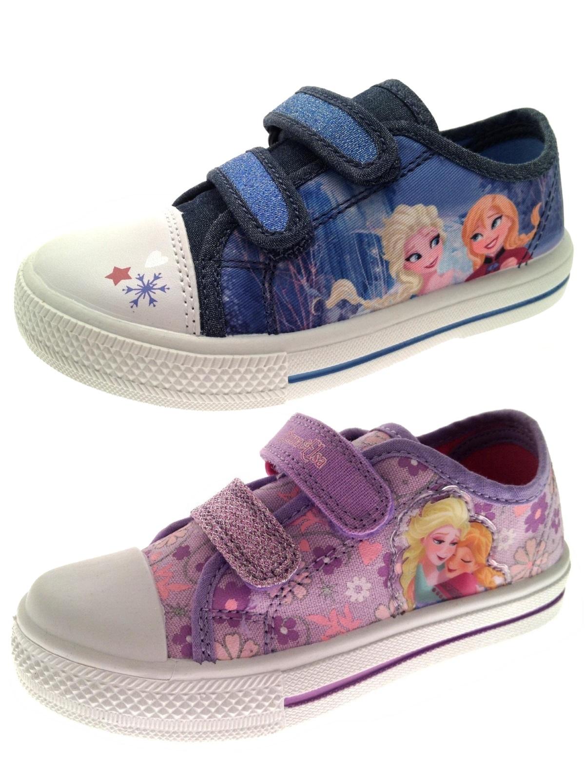 Girls Frozen Anna Elsa Plimsolls Skate Pumps Trainers Kids Character Shoes Size