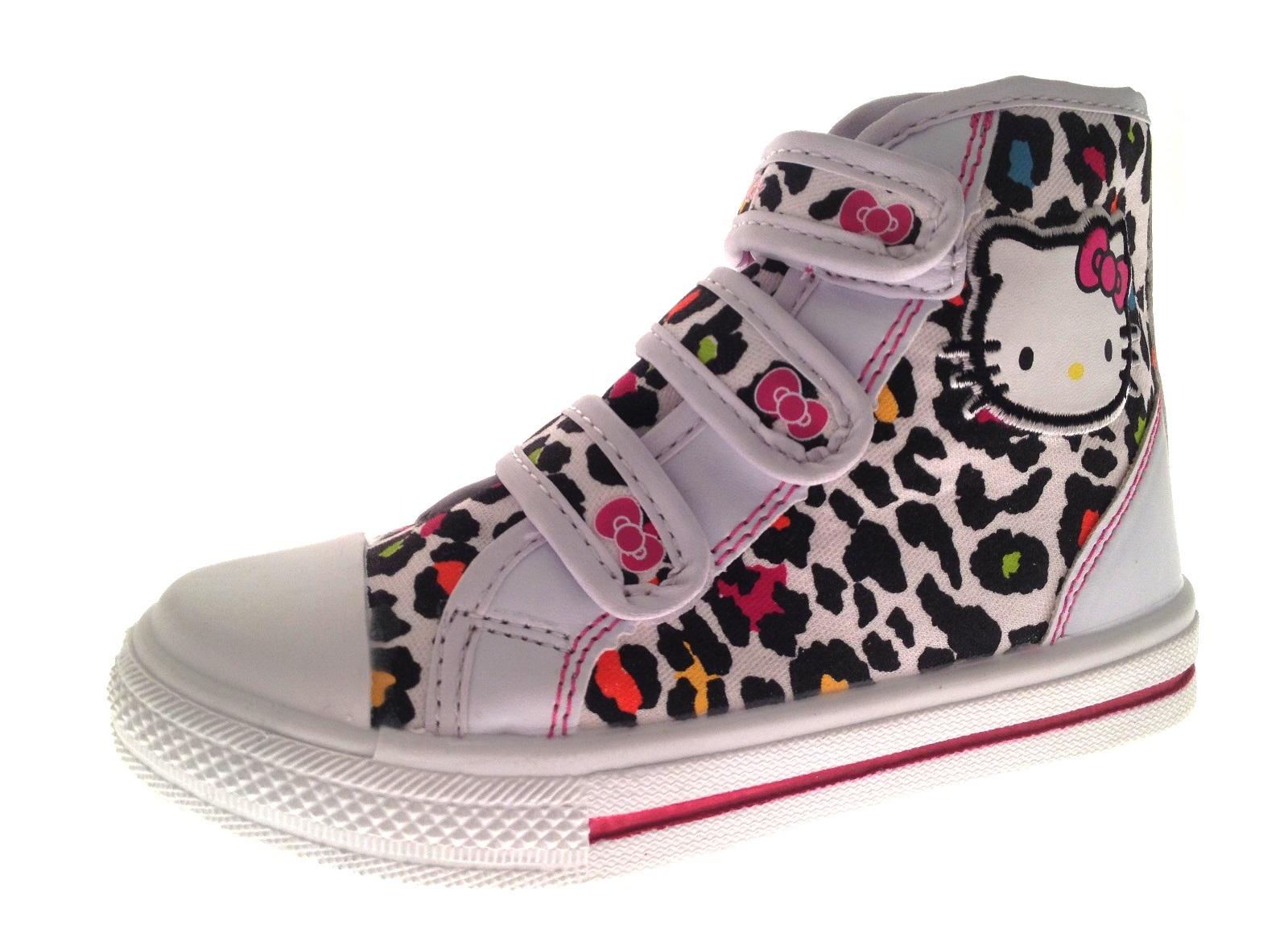 Hello Kitty Bombas De Lona Velcro Hi Tops Niñas Botas Niños Zapatillas Size UK 8 a 2