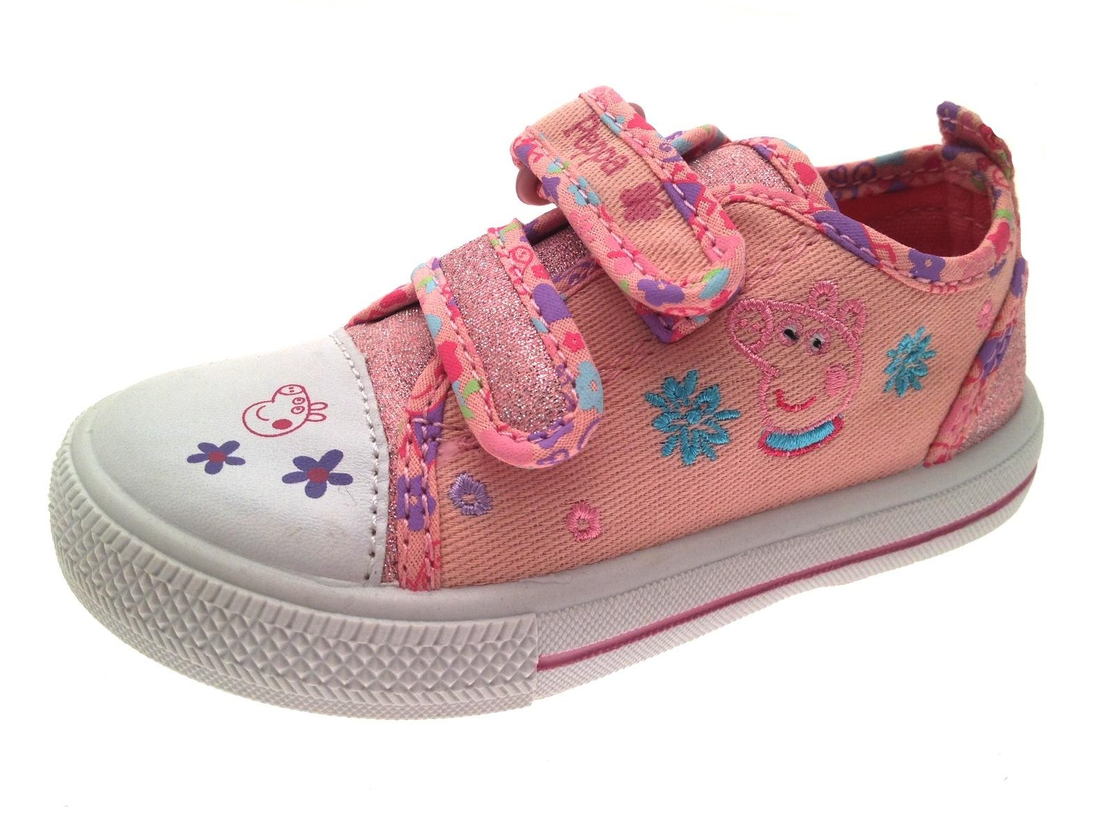 Peppa Pig Canvas Pumps Girls Glitter Trainers Infants Shoes Plimsolls Kids Size