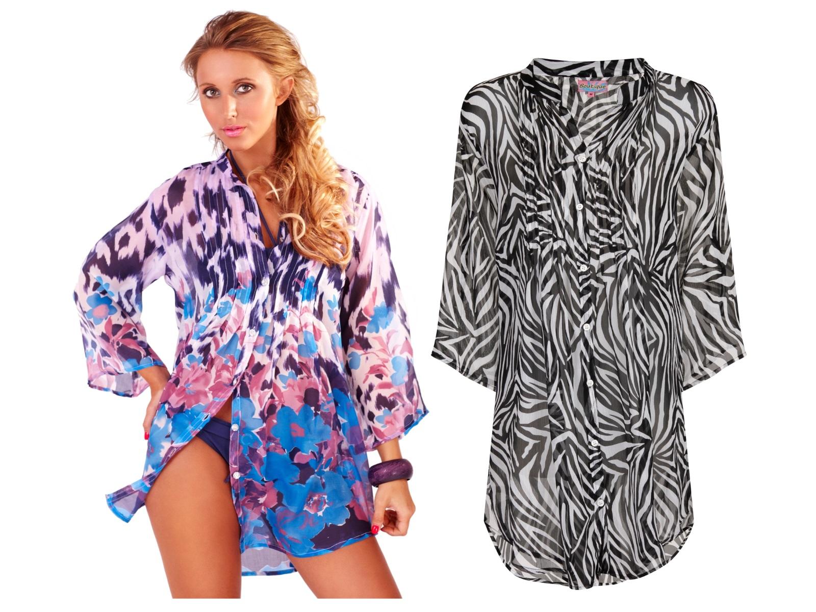 Womens shirt chiffon blouse beach summer cover up animal for Beach shirt cover up
