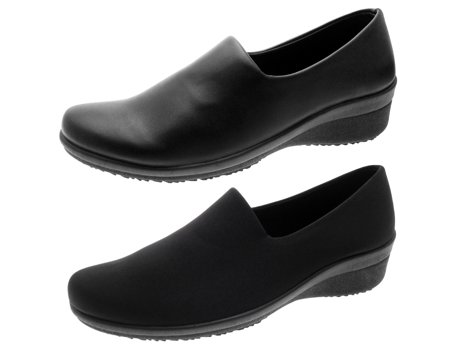 womens low wedges flexi stretch comfort work loafers slip