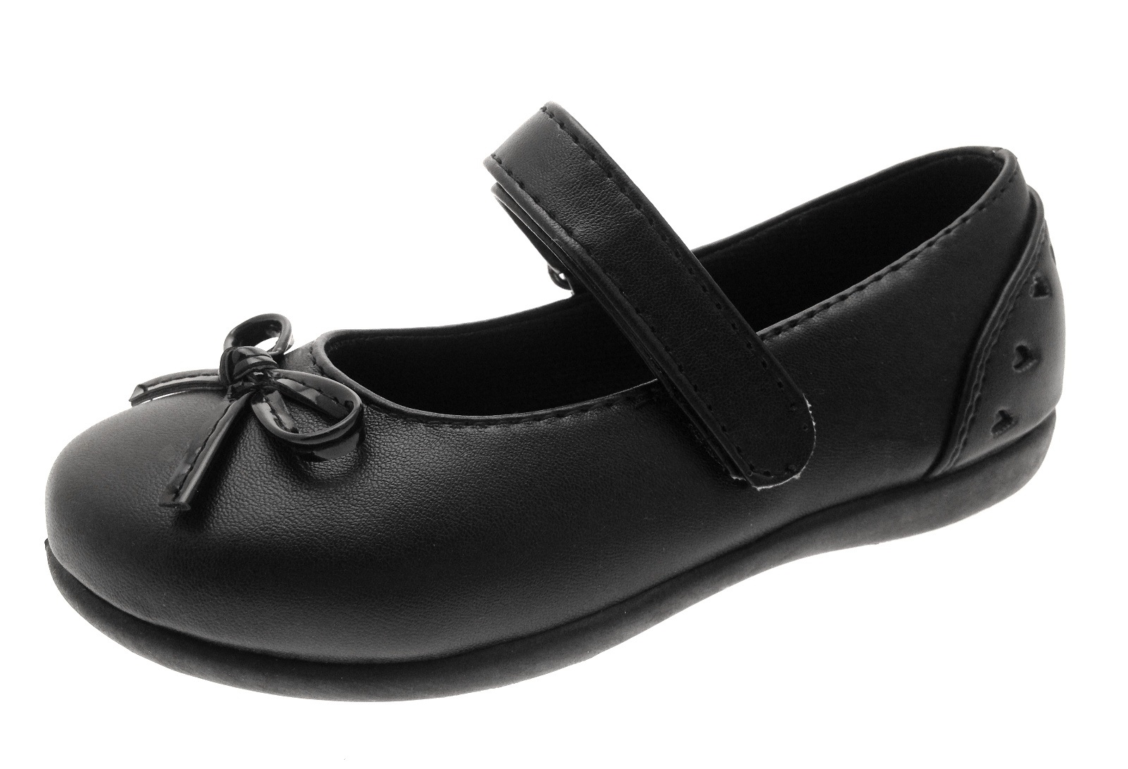 Girls Black School Shoes Faux Leather Mary Janes Faux Leather Ballerinas Kids