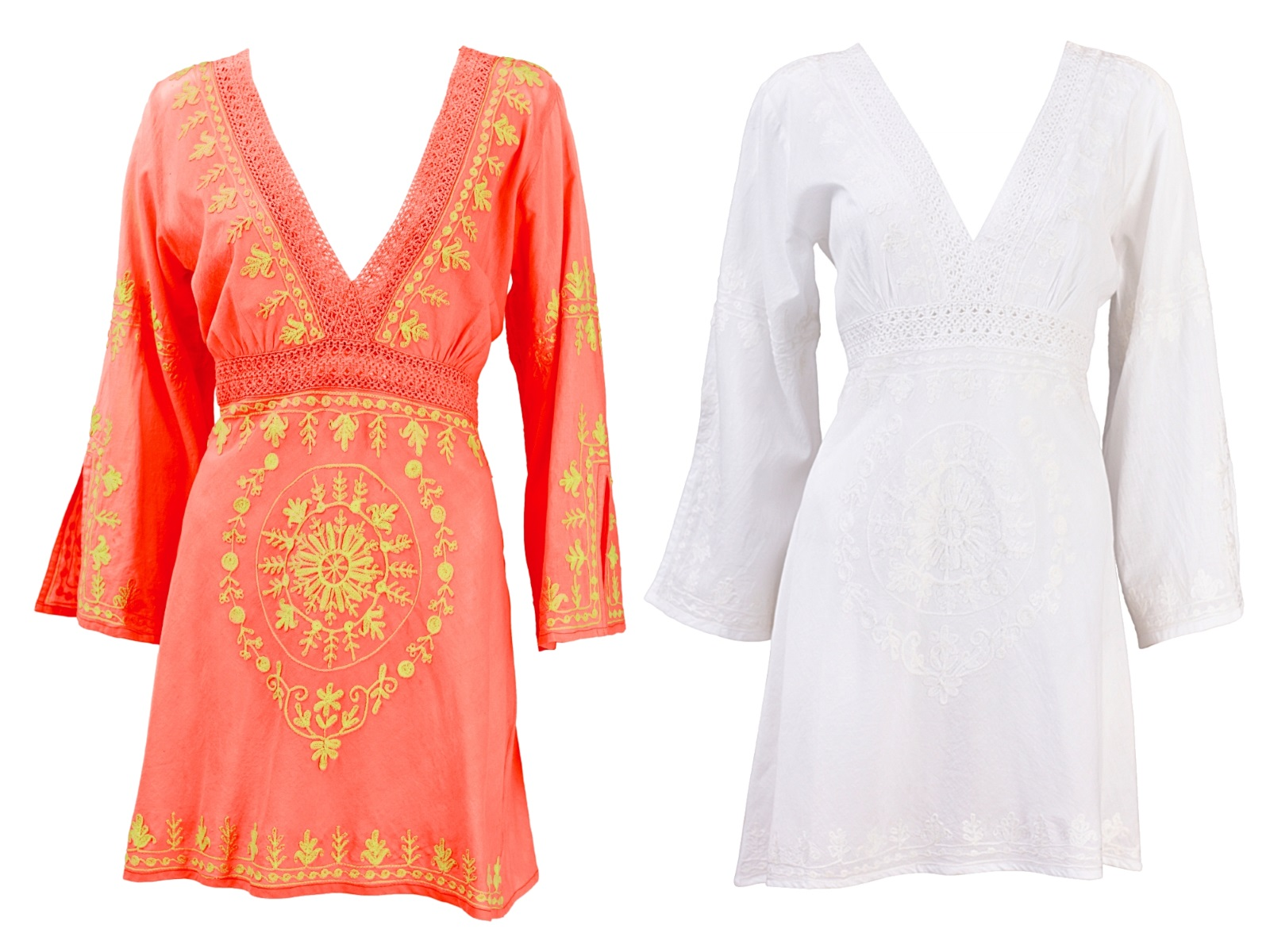 92d9599a0584c Womens Kaftan V Neck Embroidered Dress Summer Beach Cover Up Ladies Size UK  6-16