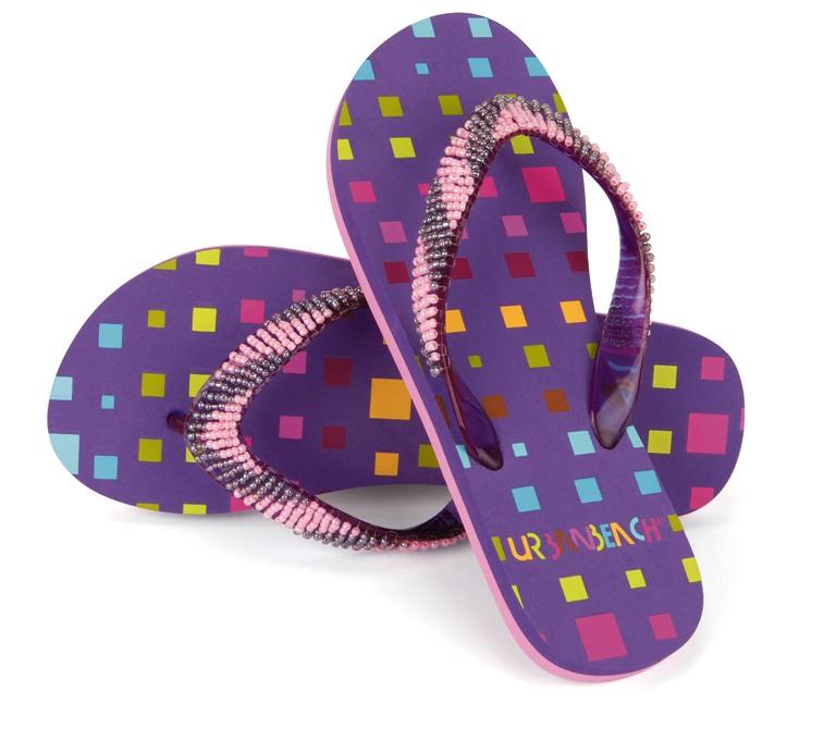 Kids Girls Urban Beach Beaded Sandals Flip Flops Toe Posts Summer Shoes UK 10-2