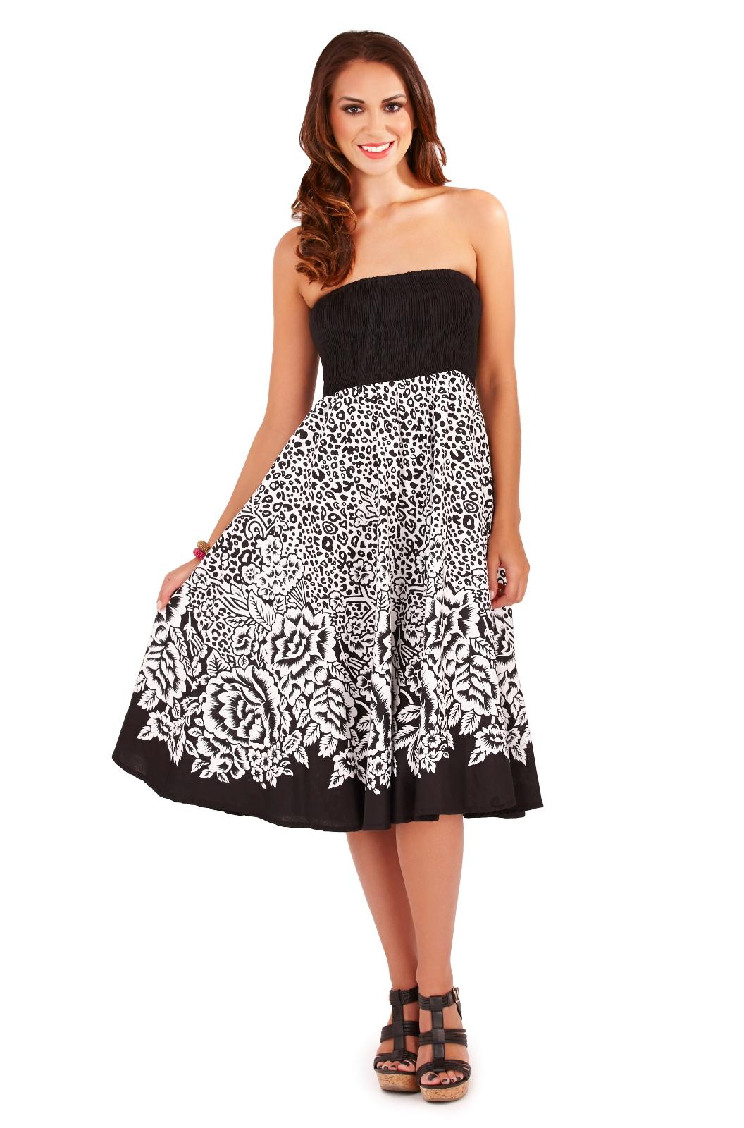 womens 2 in 1 strapless beach summer dress long maxi skirt ladies size uk 8 16 ebay. Black Bedroom Furniture Sets. Home Design Ideas