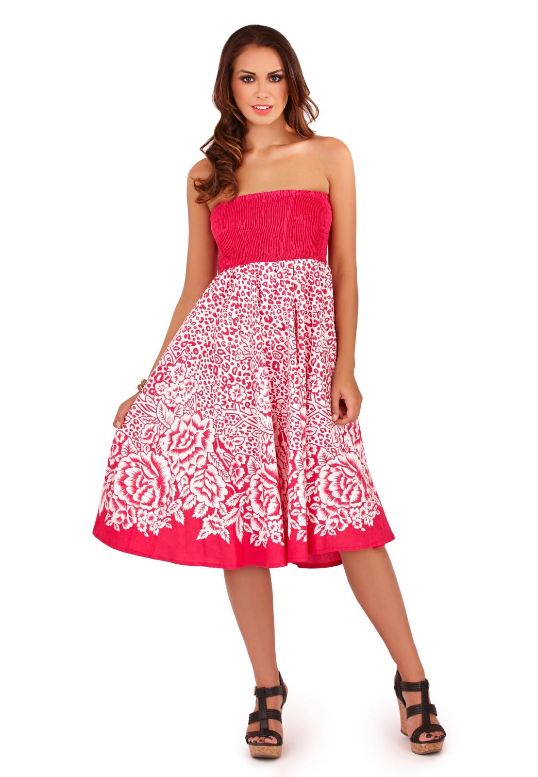 Womens 2 In 1 Strapless Beach Summer Dress / Long Maxi ...
