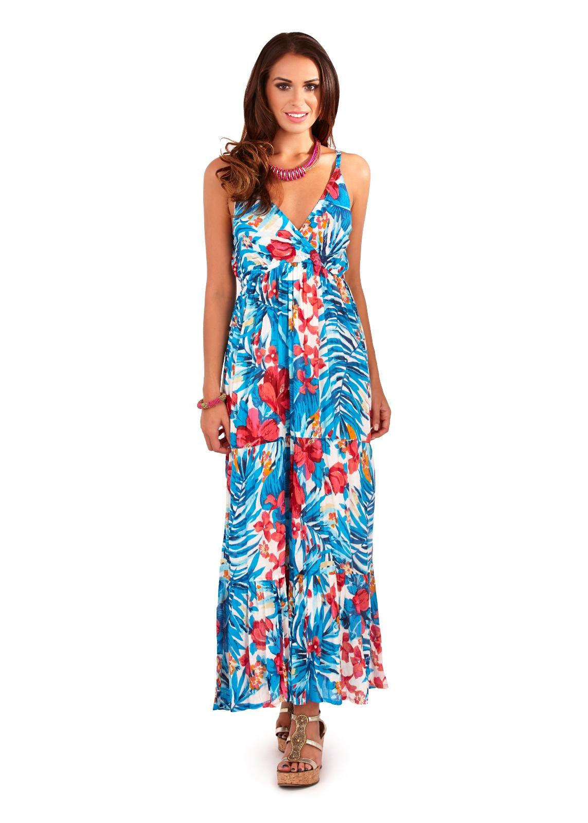 Womens Maxi Dress 100% Cotton V Neck Full Length Summer ...