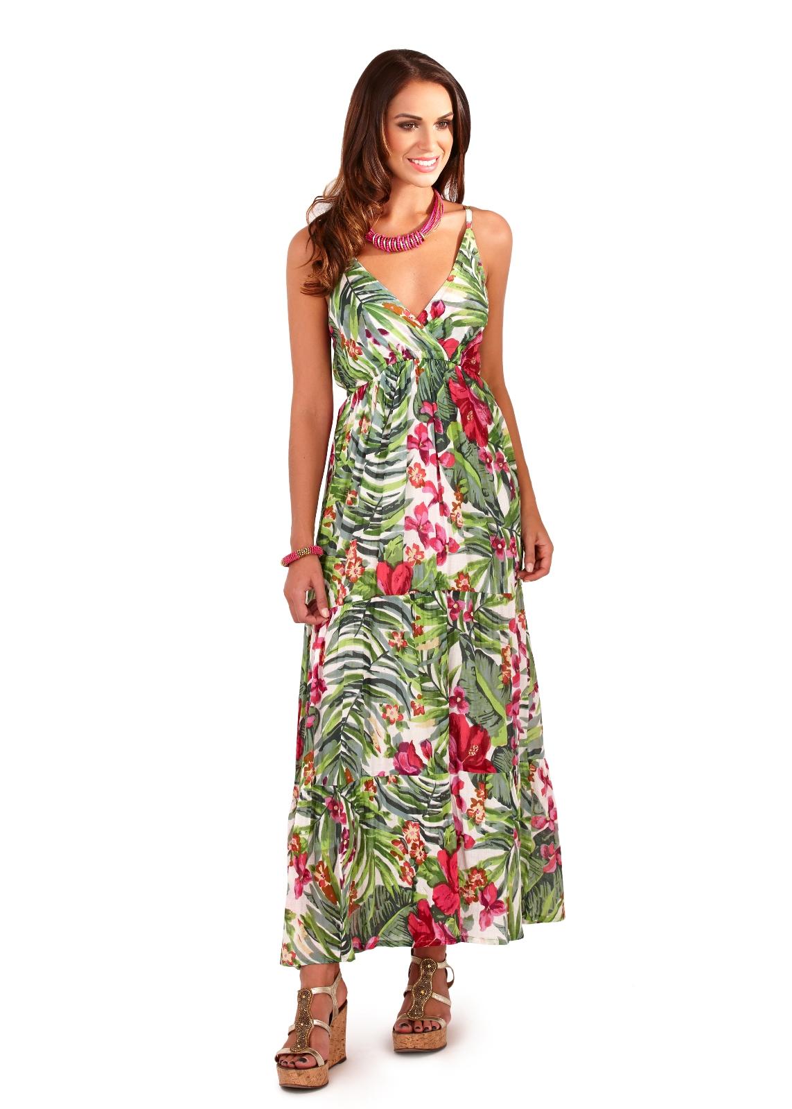 1053b20c08a Womens Maxi Dress 100% Cotton V Neck Full Length Summer Dress Ladies ...