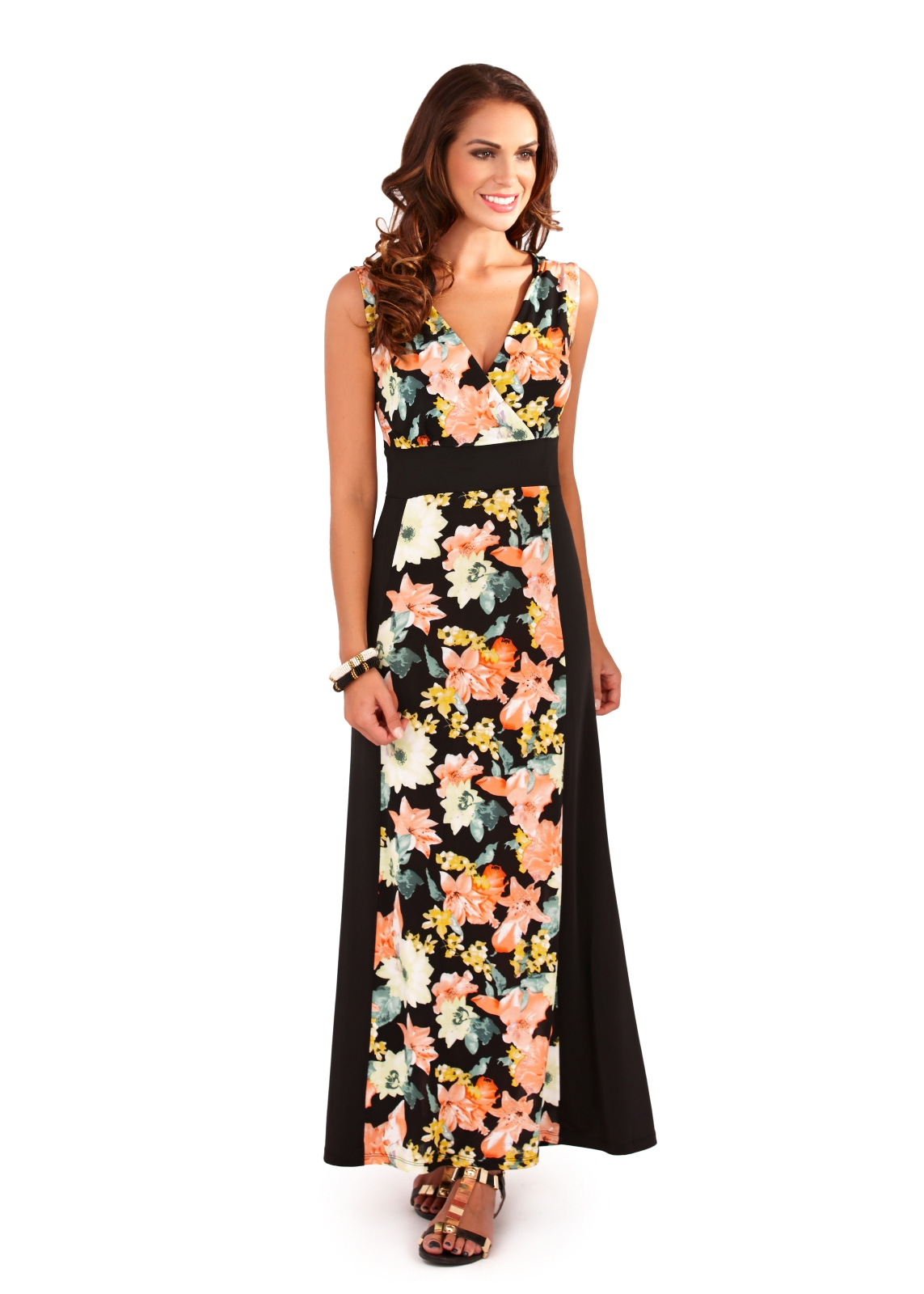 499dc18b6e58 Womens Maxi Dress Full Length Floral Stretch Panel Summer Dress ...