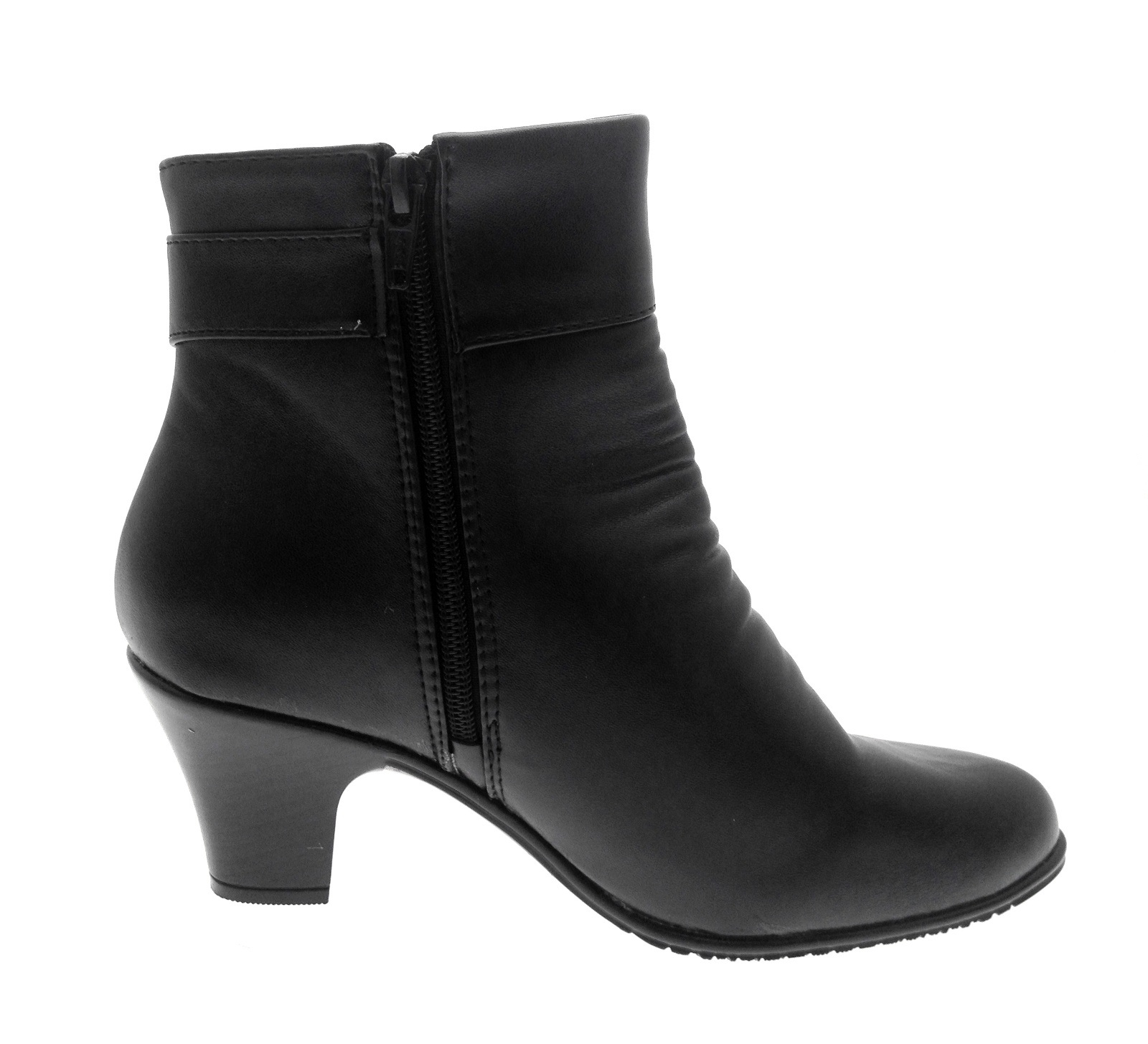 Womens Comfort Low Heel Classic Ankle Boots Faux Leather Ladies ...