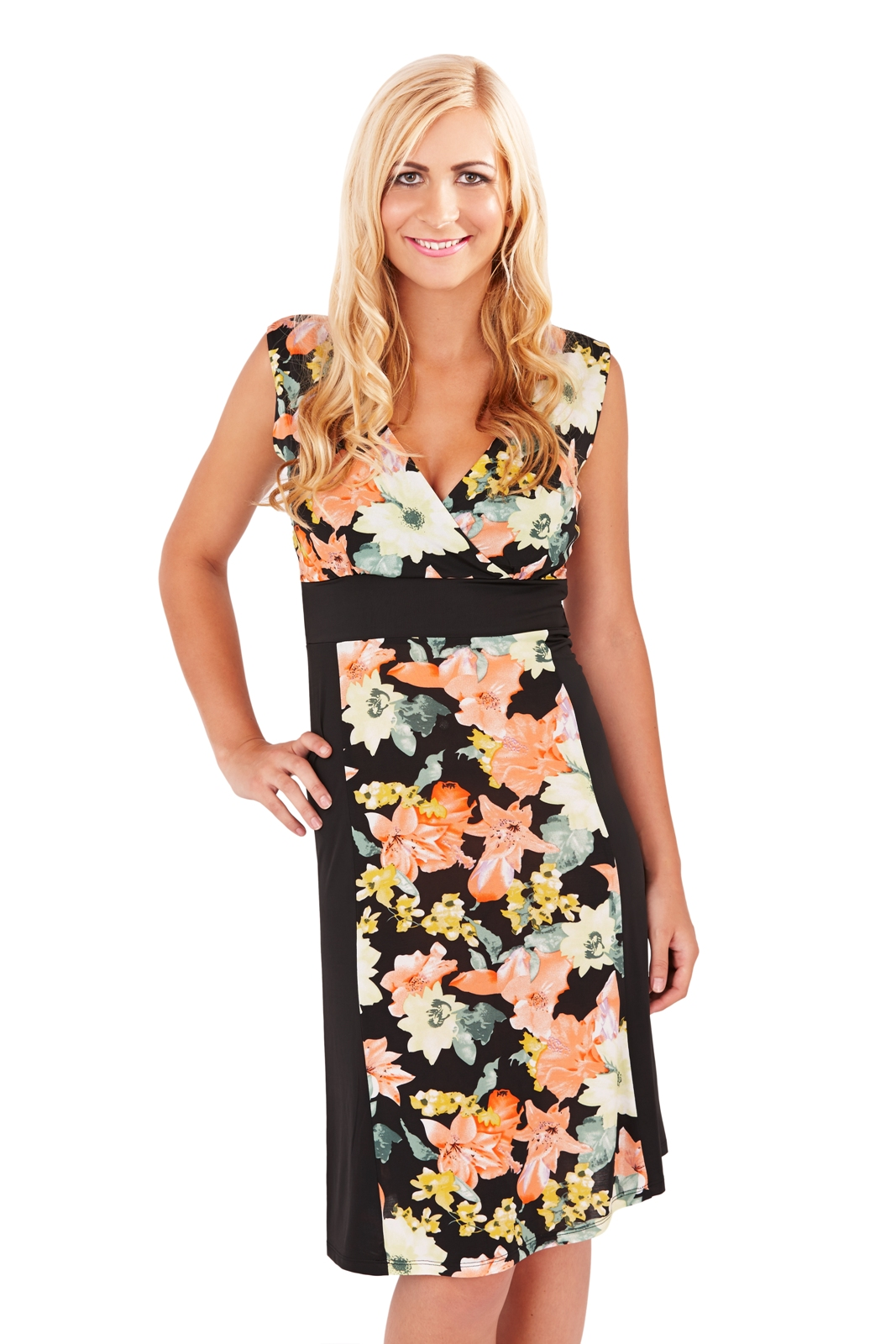 f256187cf569 Womens Midi Dress Mid Length Floral Stretch Panel Summer Dress Ladies Size  8-16