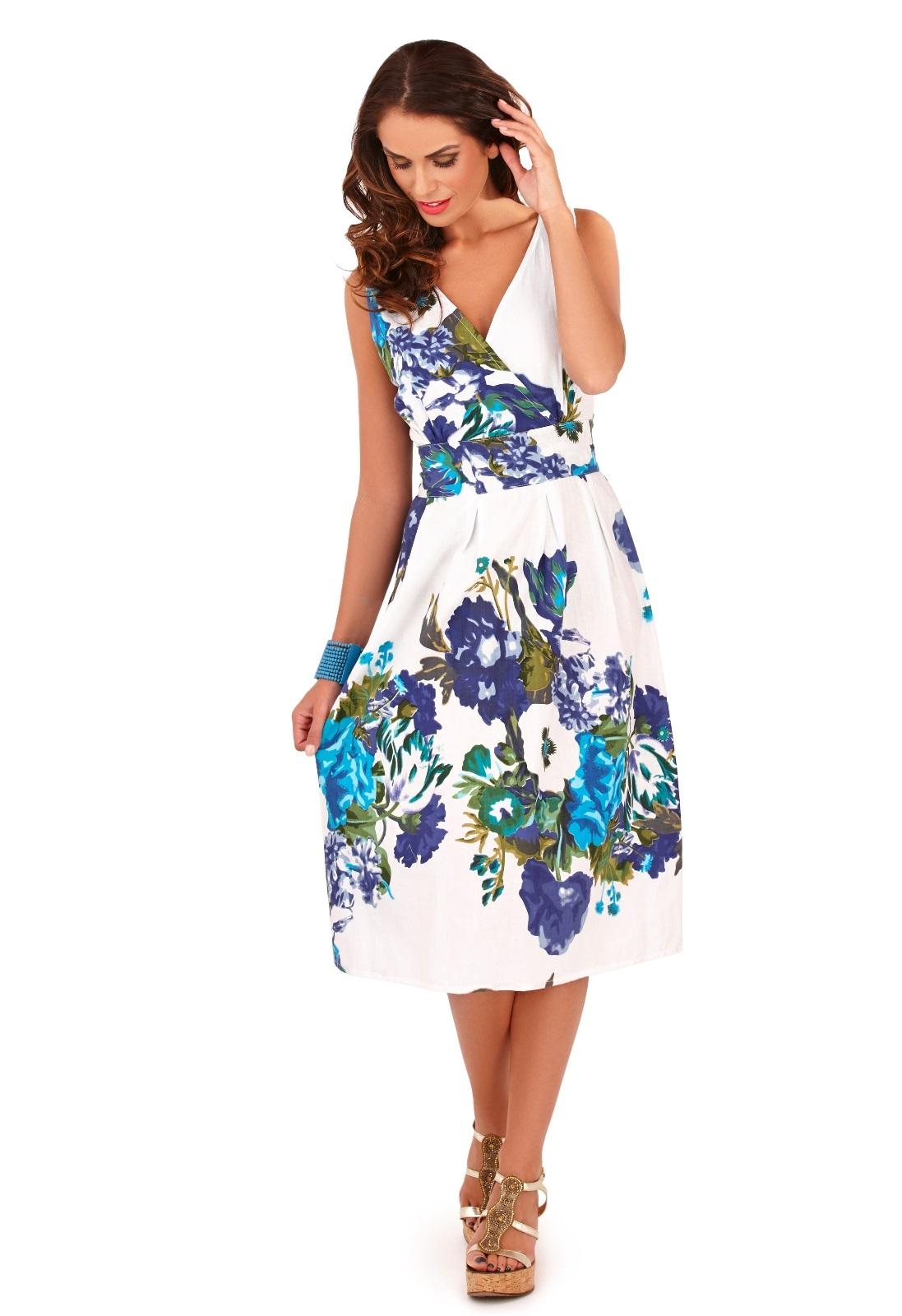 Womens Dress 100% Cotton Floral Summer Dress Mid Knee ...