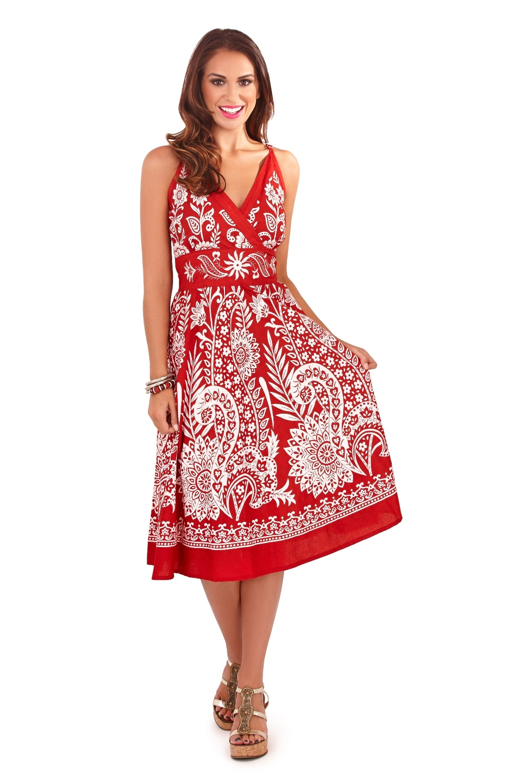 Womens Summer Dress 100% Cotton V Neck Floral Mid Length ...