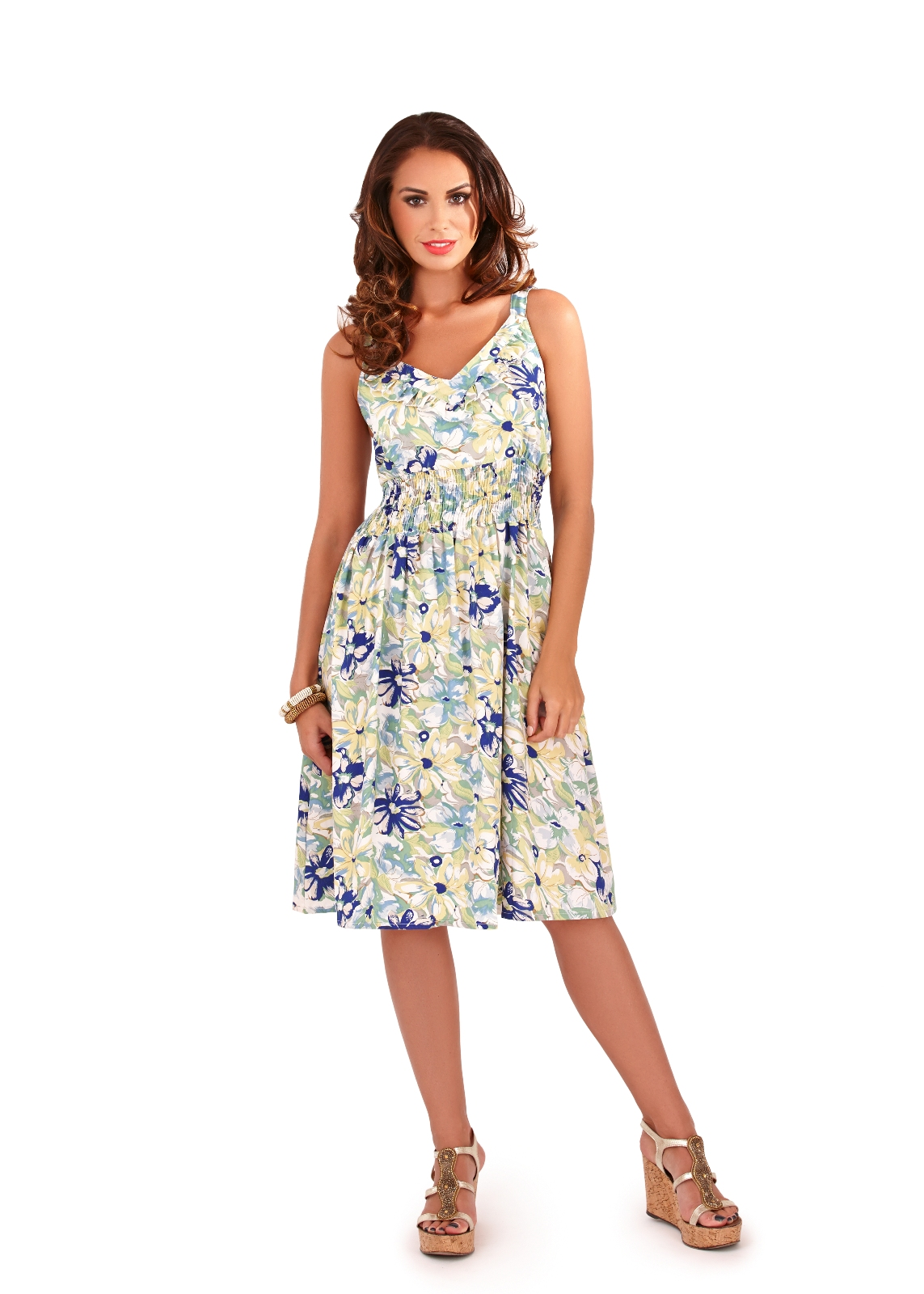 Womens Dress V Neck Floral Summer Dress Mid Length Ladies