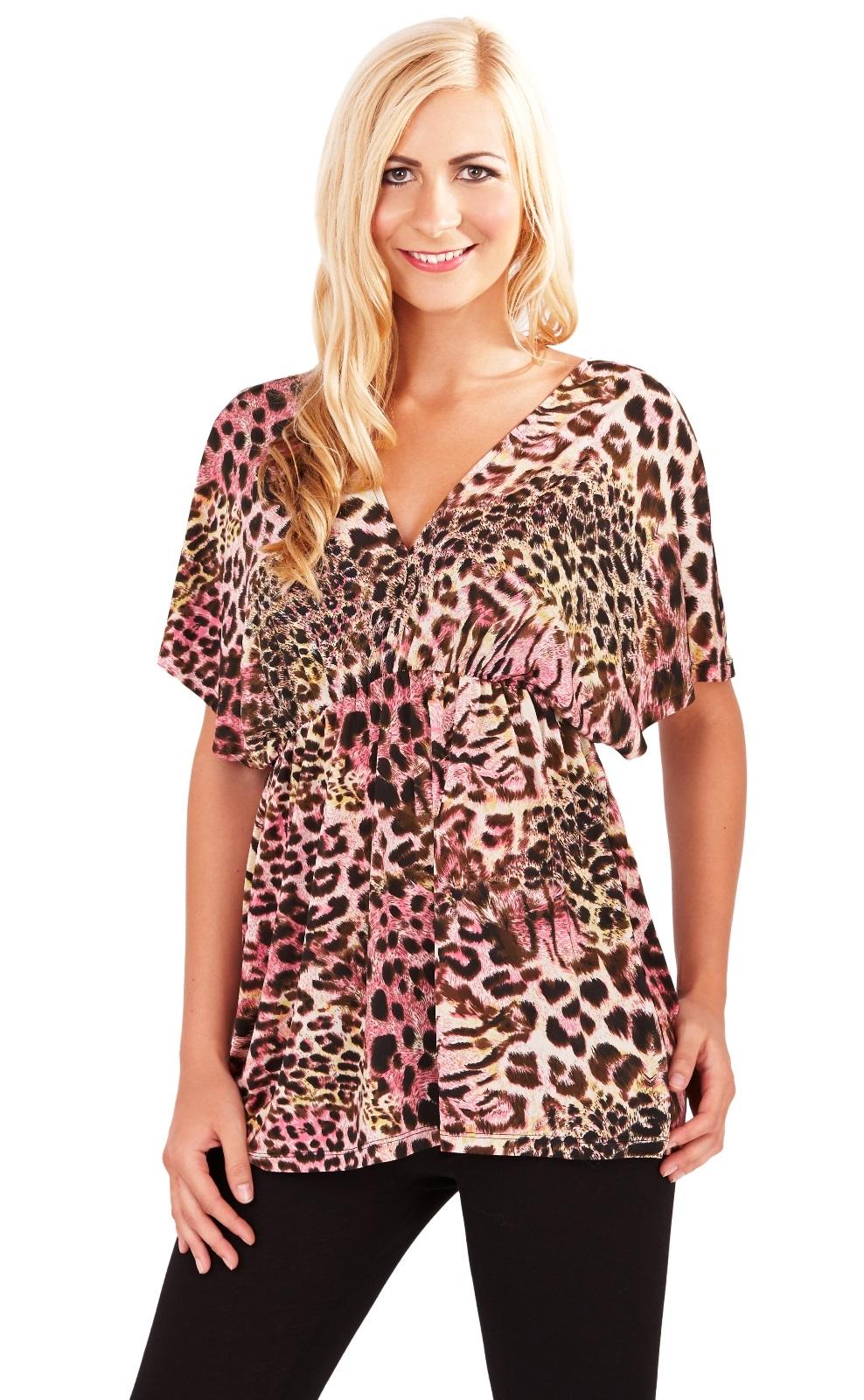 Womens Top Animal Print V Neck Short Sleeved Summer Blouse ...