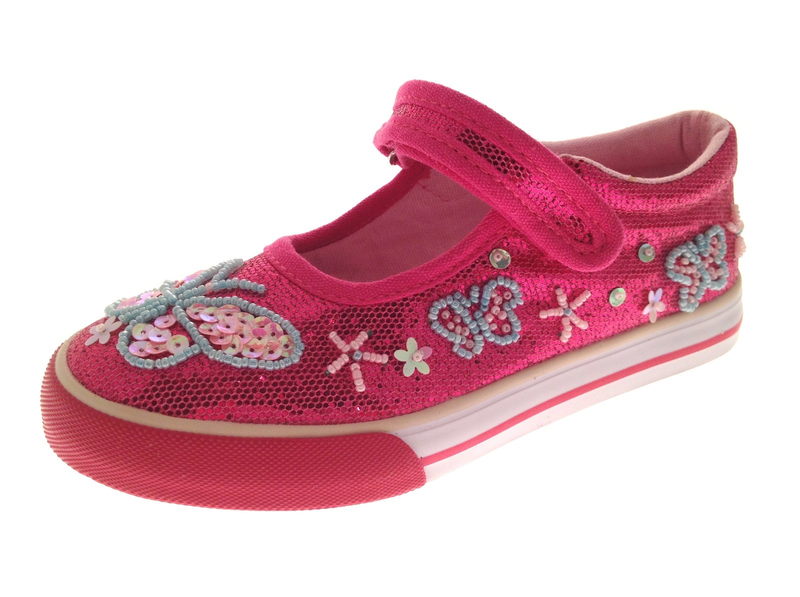 Girls Pink Glitter Shoes Trainers
