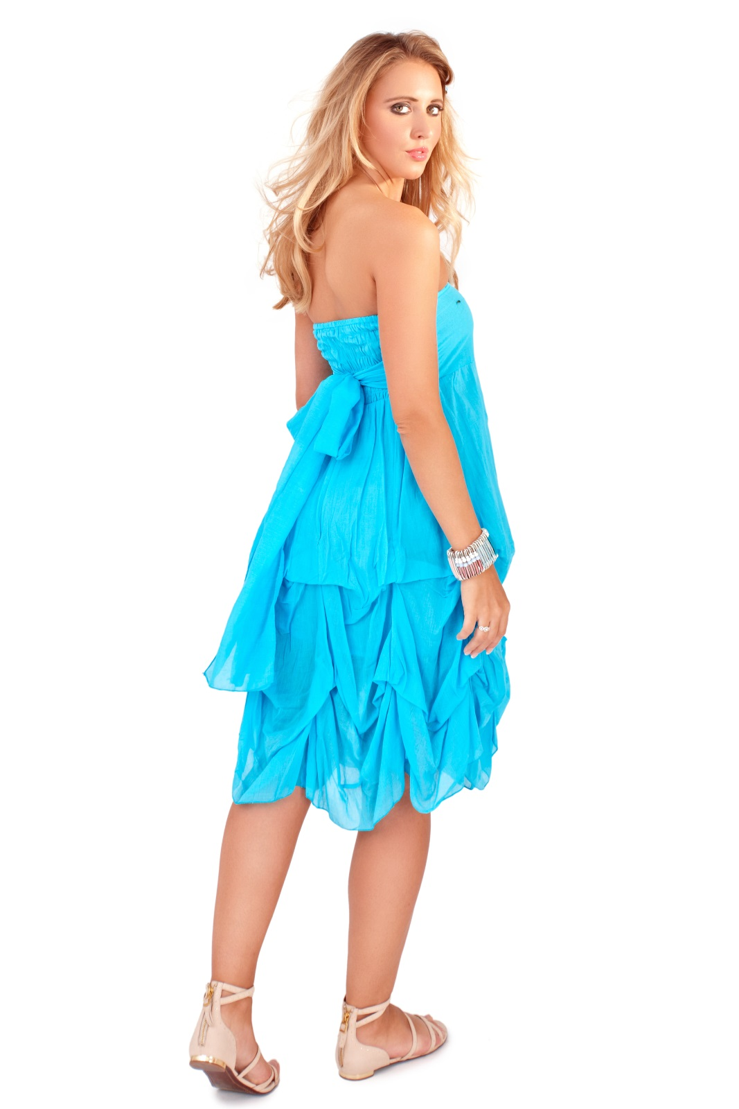 Womens Strapless Summer Dress Beach Cover Up Ruffled Maxi ...