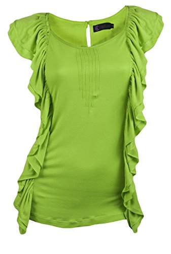 Womens Sleeveless Summer Vest Tops Strappy Ruffle Frilly T Shirt Size UK 8-16