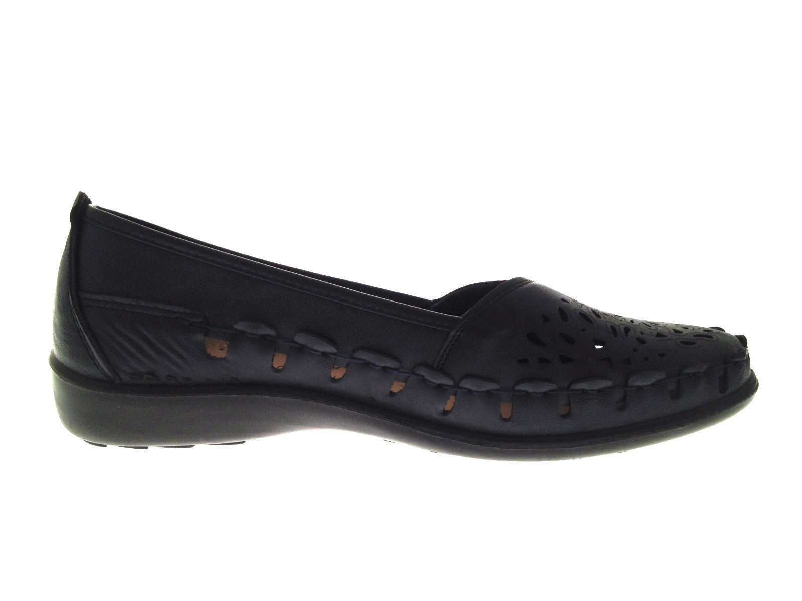 Womens Faux Leather Comfort Loafers Cut Out Shoes Casual Summer Flats Size 3-8