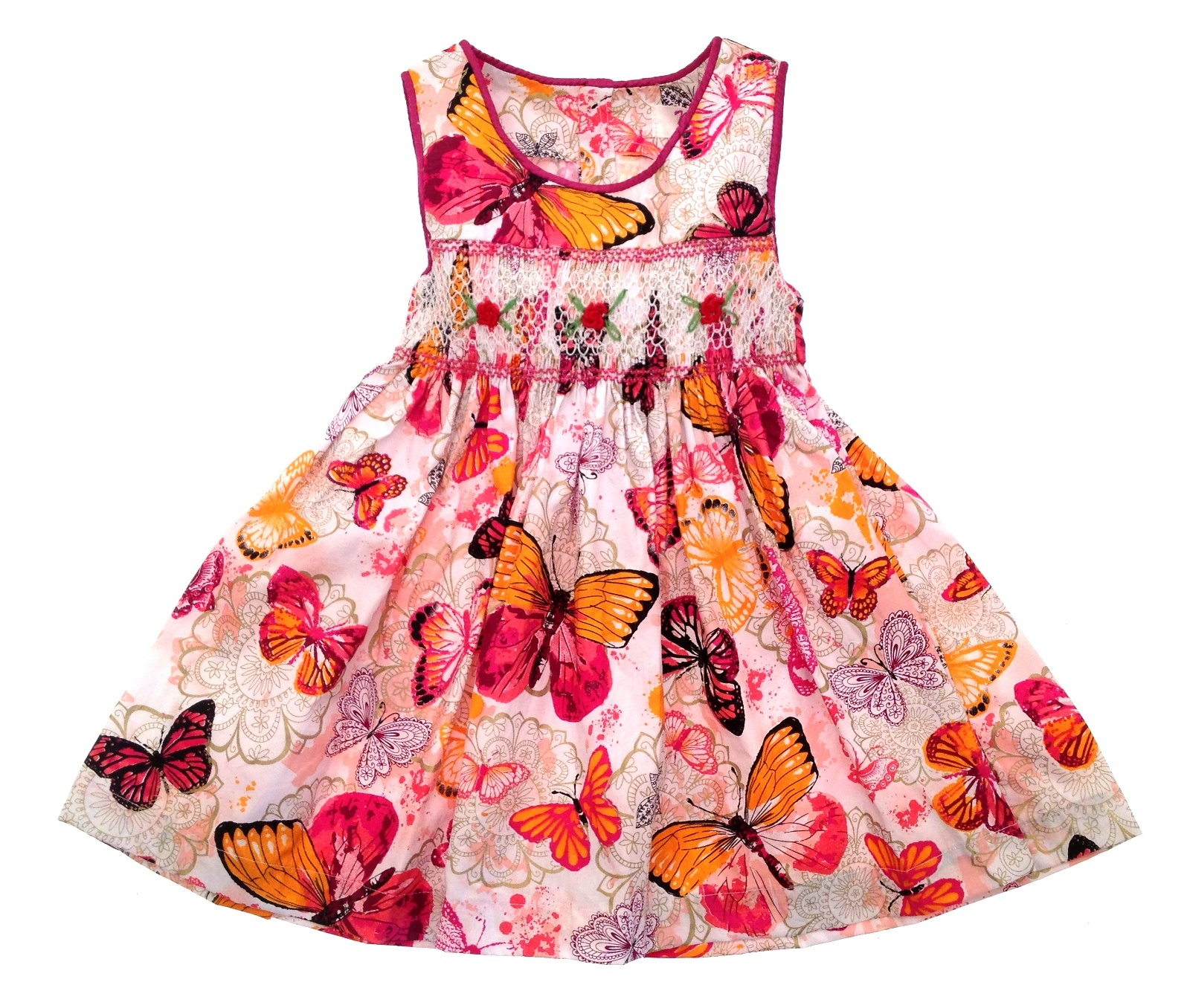 The dress was bigger than expected, but it can be altered. The dress is made out of great material and isn't really see-thru. Overall, it's an excellent dress for a girl's birthday party or summer dress.