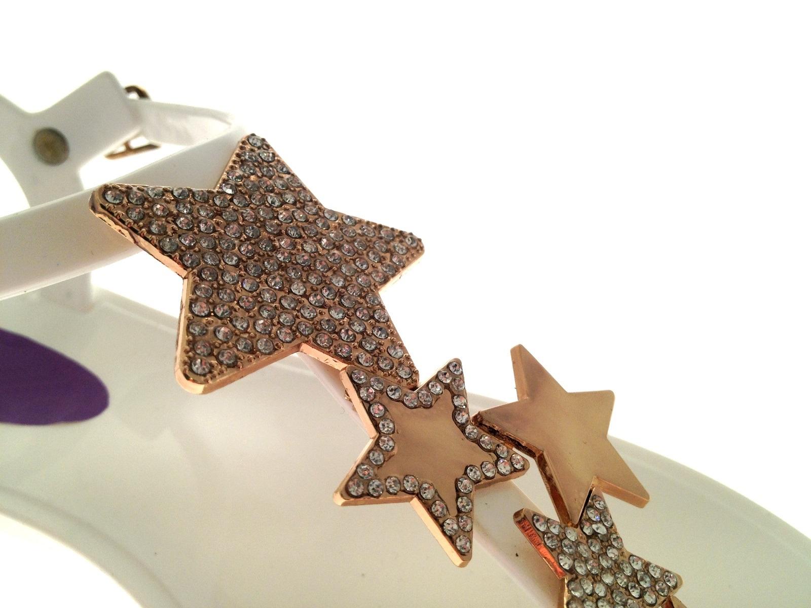 Para Mujer Jelly Sandalias Joya abordar Diamante Estrella de los puestos jaleas Zapatos Talla 3-8