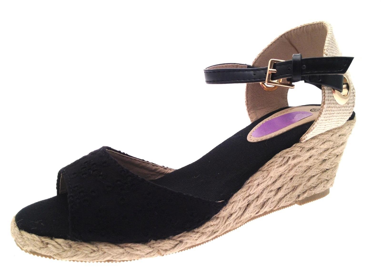 womens strappy peeptoe hessian wedge sandals summer