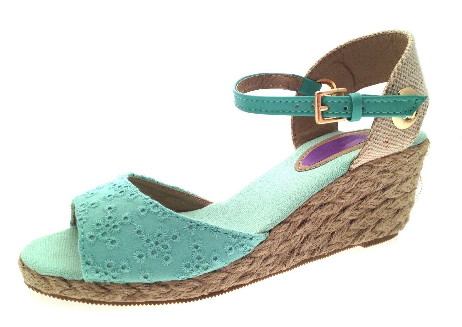 Womens Strappy Peeptoe Hessian Wedge Sandals Ladies Summer ...