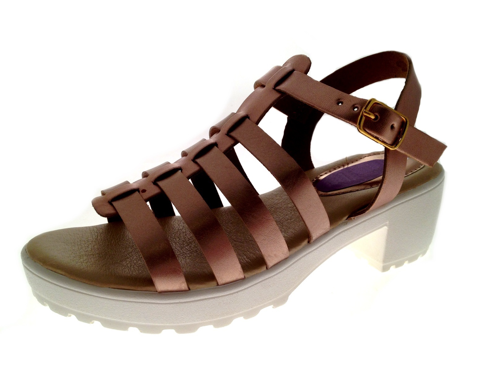 Girls Gladiator / T Bar Sandals Chunky Block Heels Kids ...