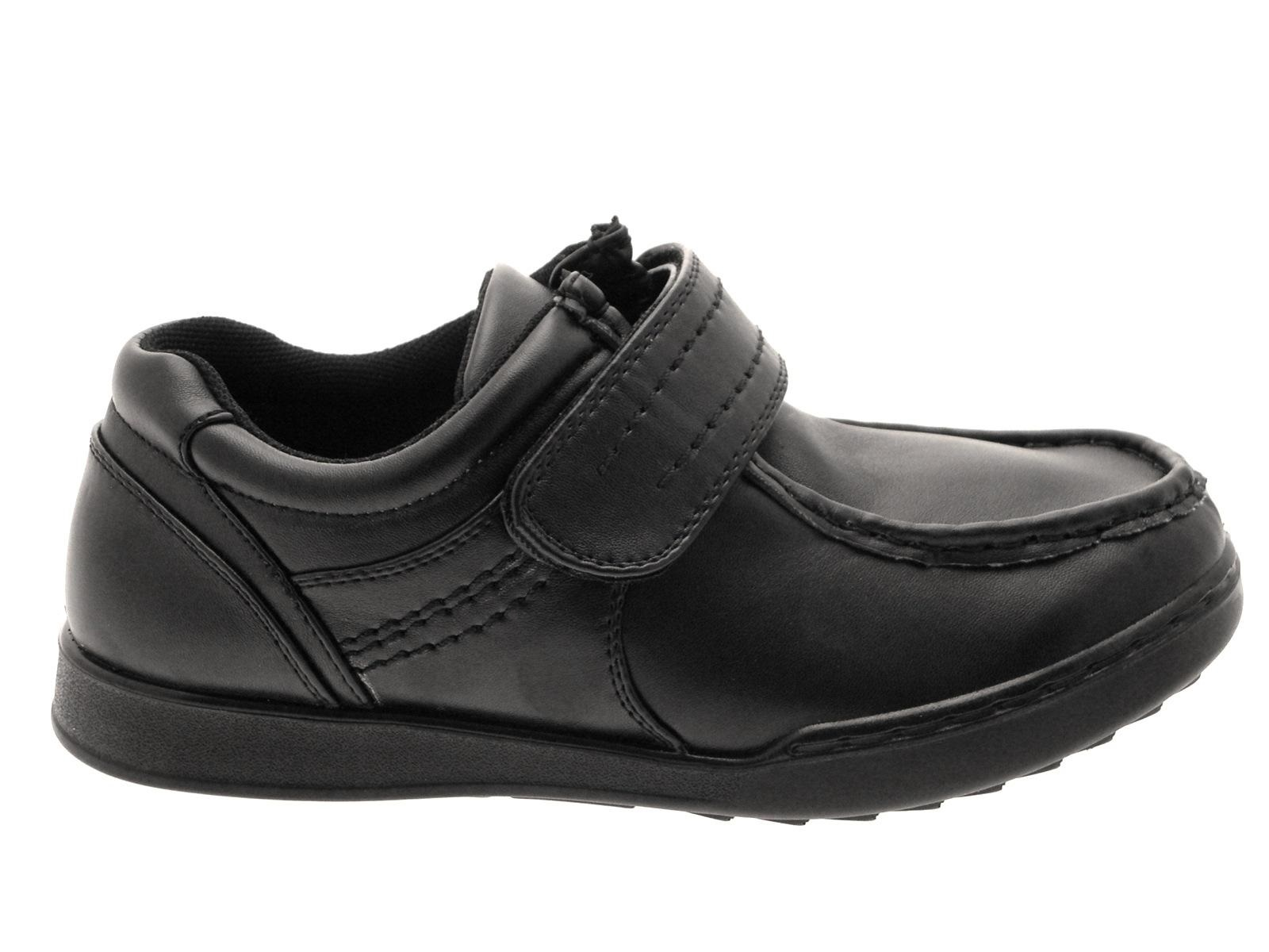 boys black school shoes faux leather adjustable