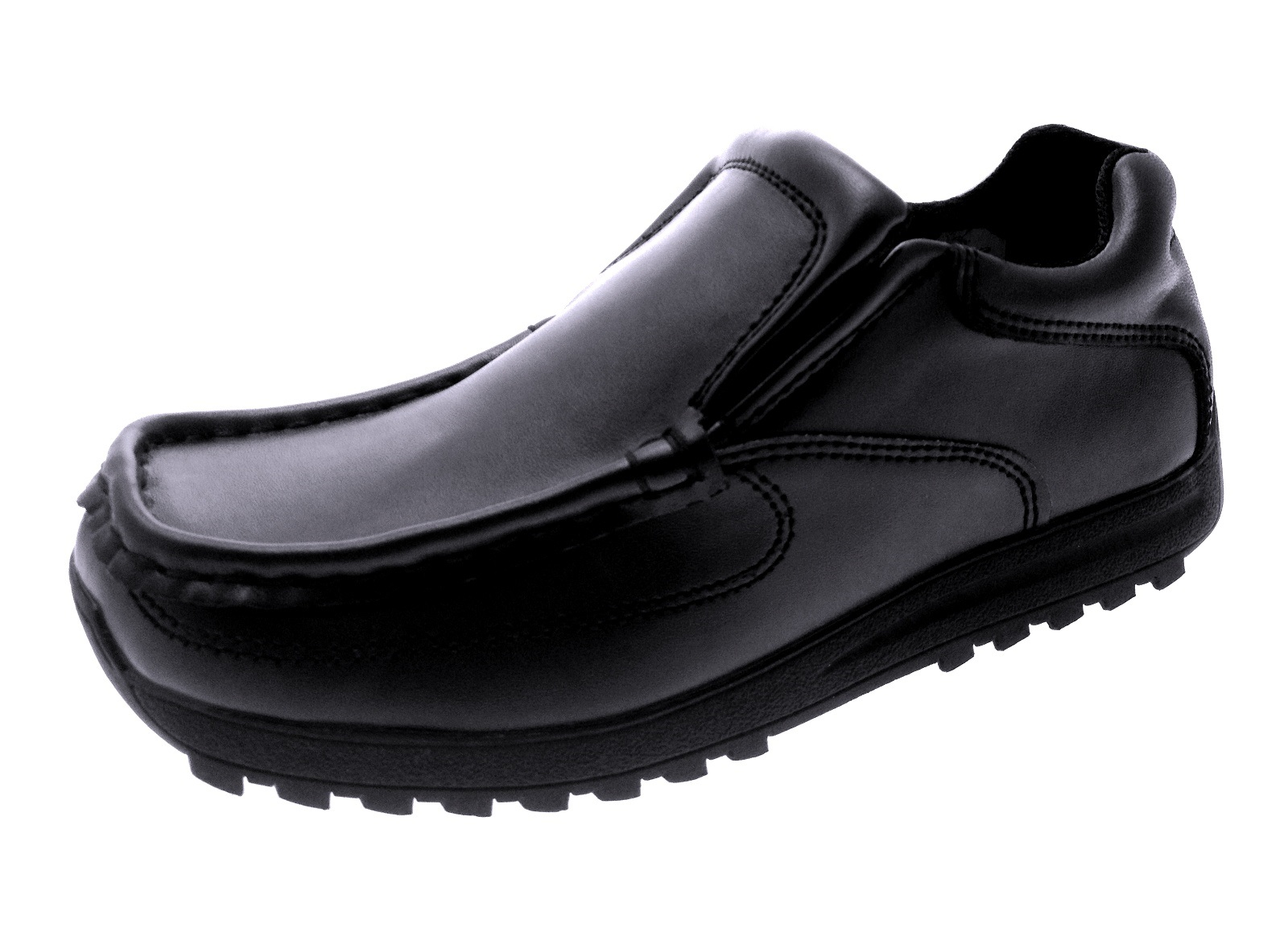 Mens Boys Kids Black Leather School Shoes Work Loafers ...