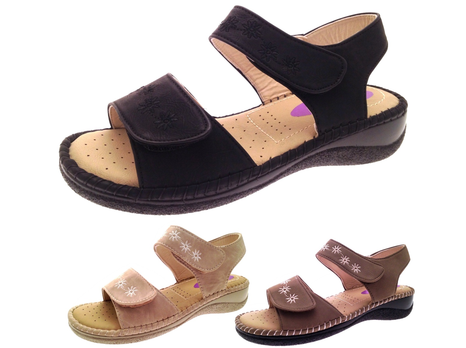 Womens Summer Sandals Cushioned Wide Adjustable Straps ...