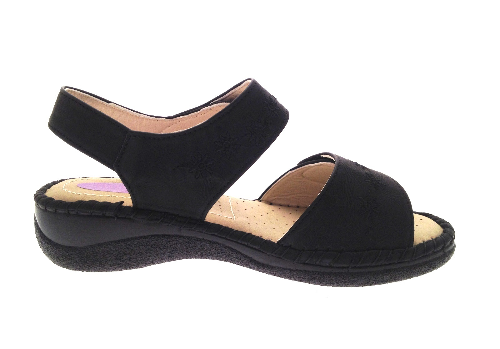 Womens Wide Flat Shoes Black