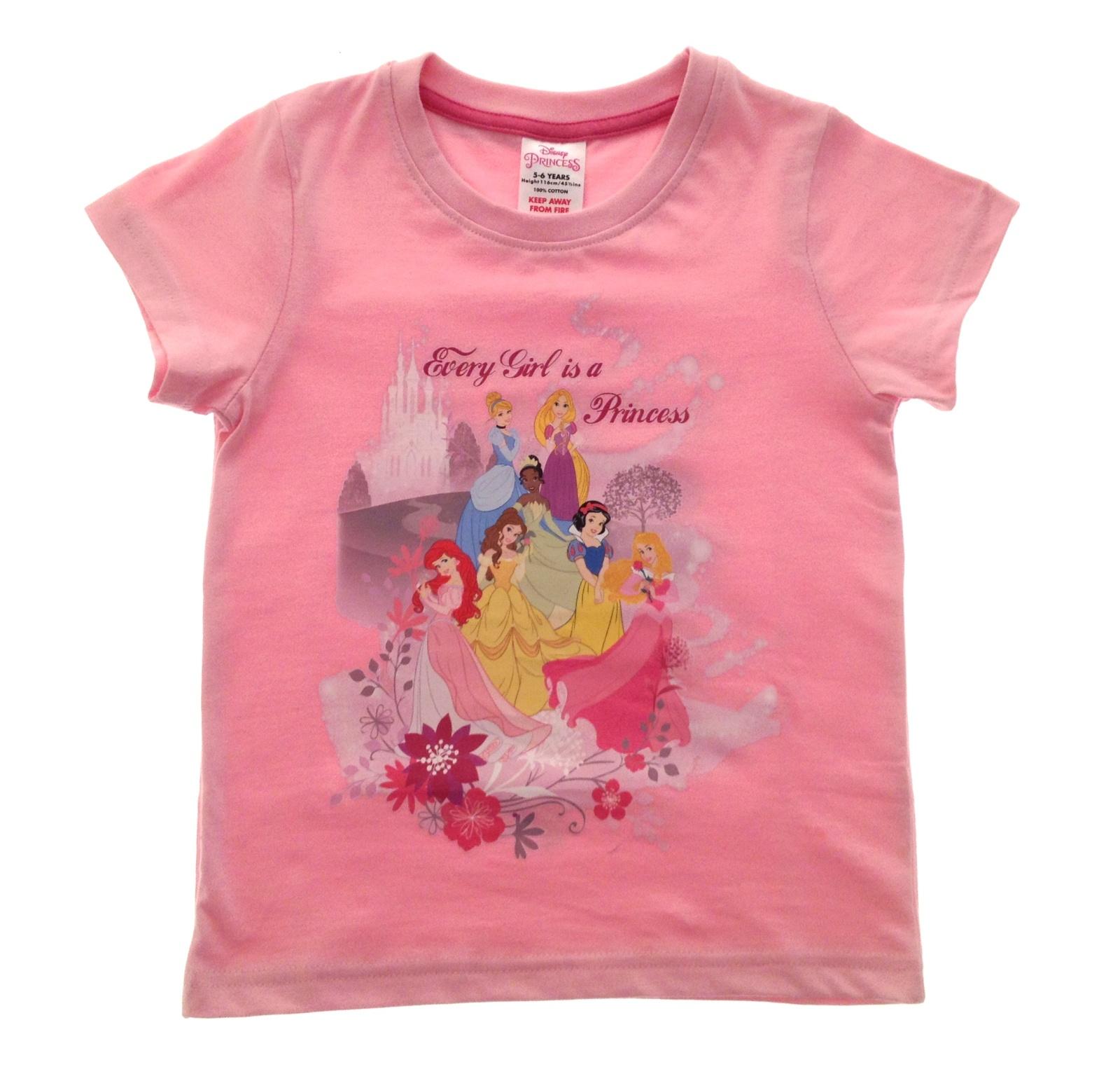 girls disney princess character summer top t shirt childrens size uk 1 6 years. Black Bedroom Furniture Sets. Home Design Ideas
