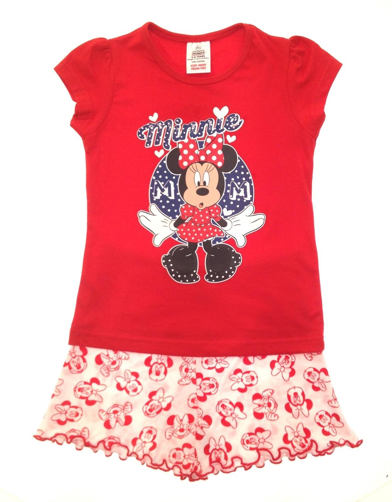 Kids Girls ficial Disney Minnie Mouse Short Pyjamas Pj s Set Size