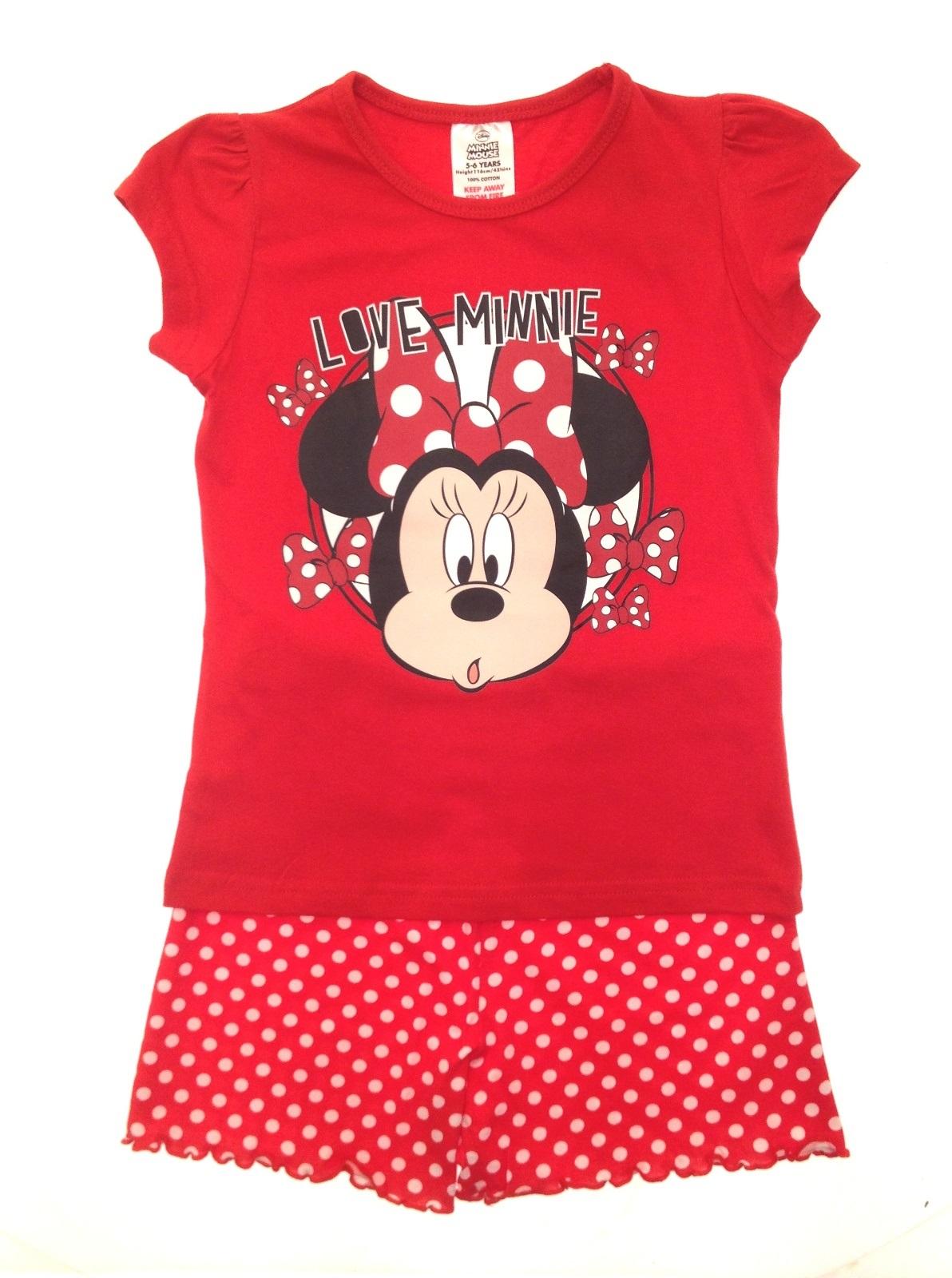 Kids Girls Official Disney Minnie Mouse Short Pyjamas Pj\'s Set Size ...