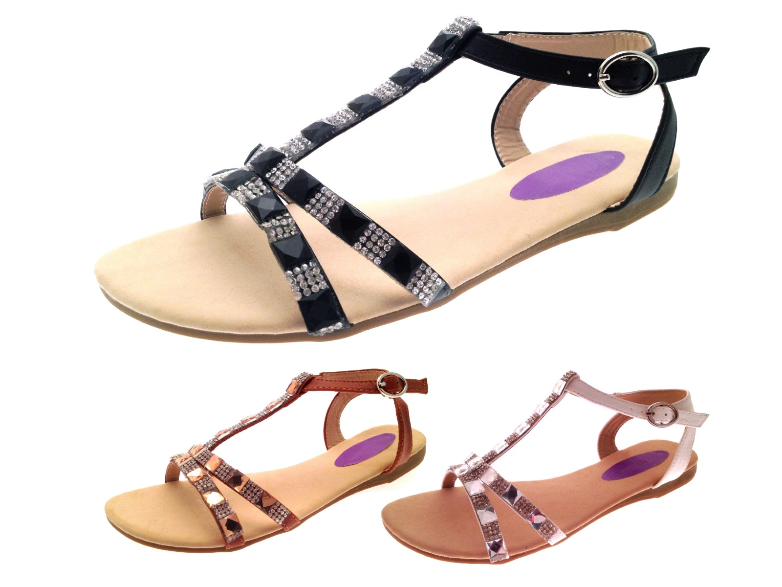 Womens Diamante Summer Sandals Strappy T Bar Jewel Shoes ...