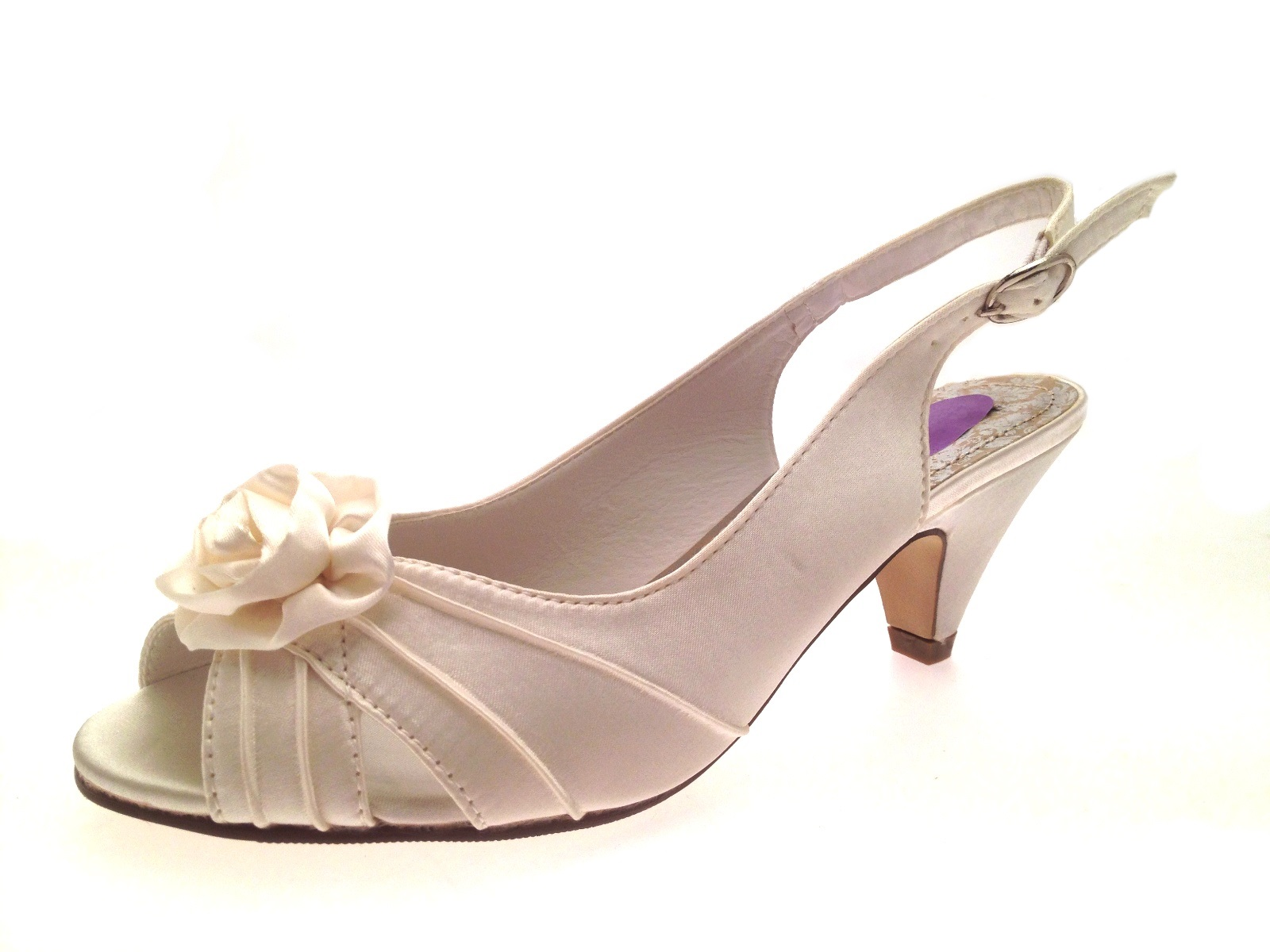 Womens low heel satin wider bridal wedding comfort shoes for Low heel dress shoes wedding