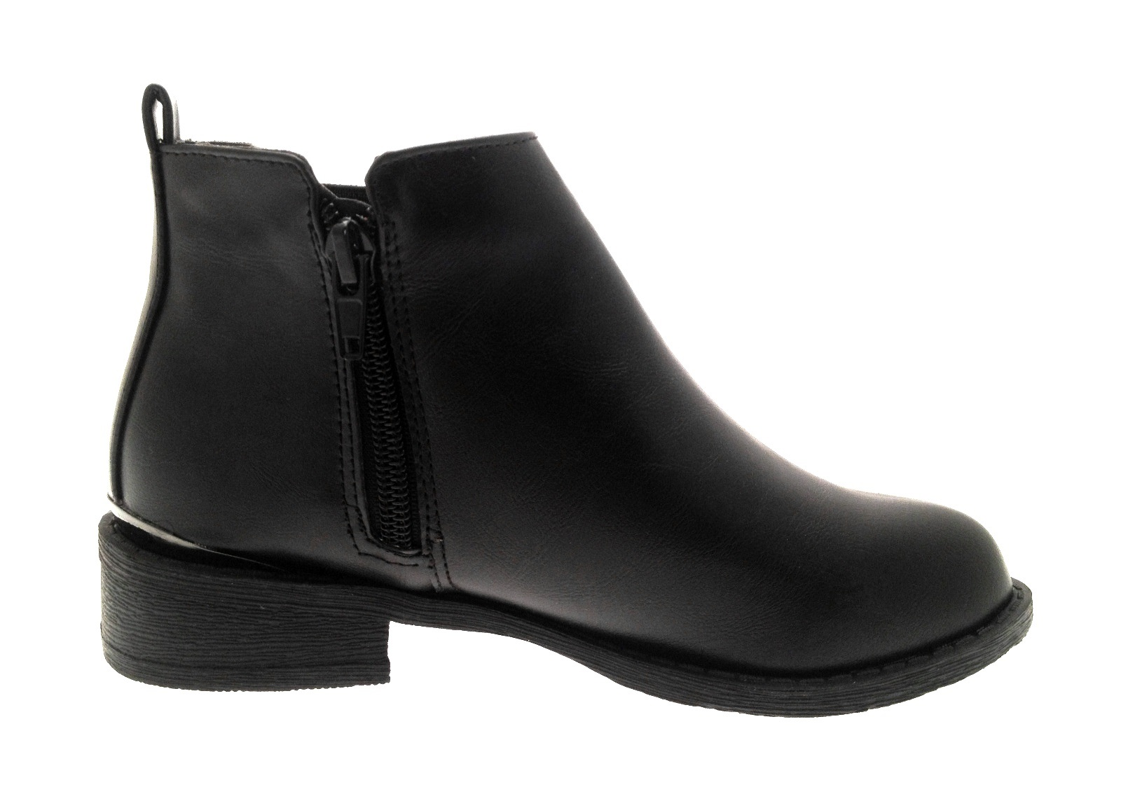 Girls Kids Faux Leather Chelsea Ankle Boots Casual Black School ...