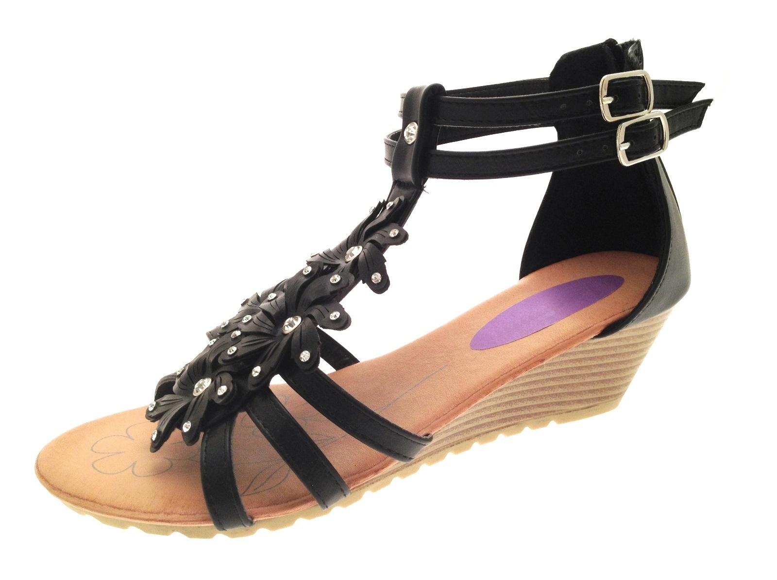 Black sandals ebay uk - Womens Diamante Flower T Bar Summer Sandals Low Wedges Heels Shoes Size Uk 3 8