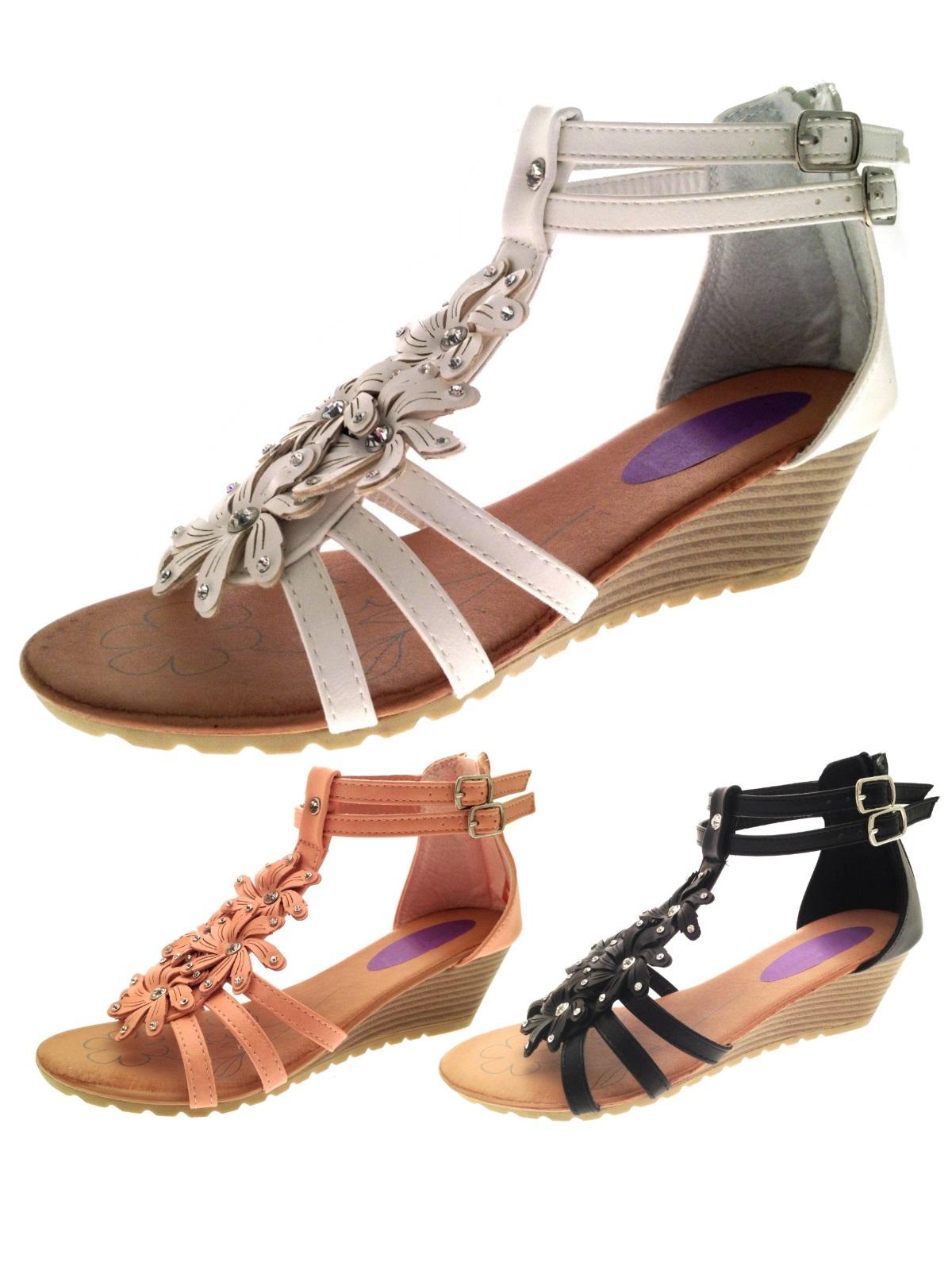 Womens Diamante Flower T Bar Summer Sandals Low Wedges ...