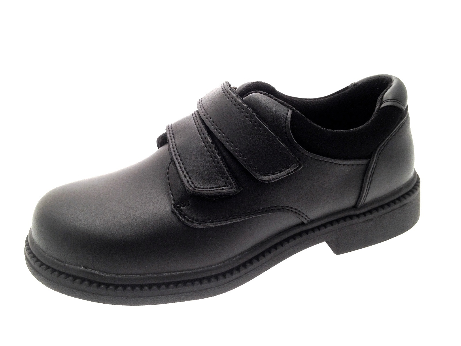 Kids Boys Black Leather School Shoes Lace Up Velcro Slip On Trainers ... bf390f292